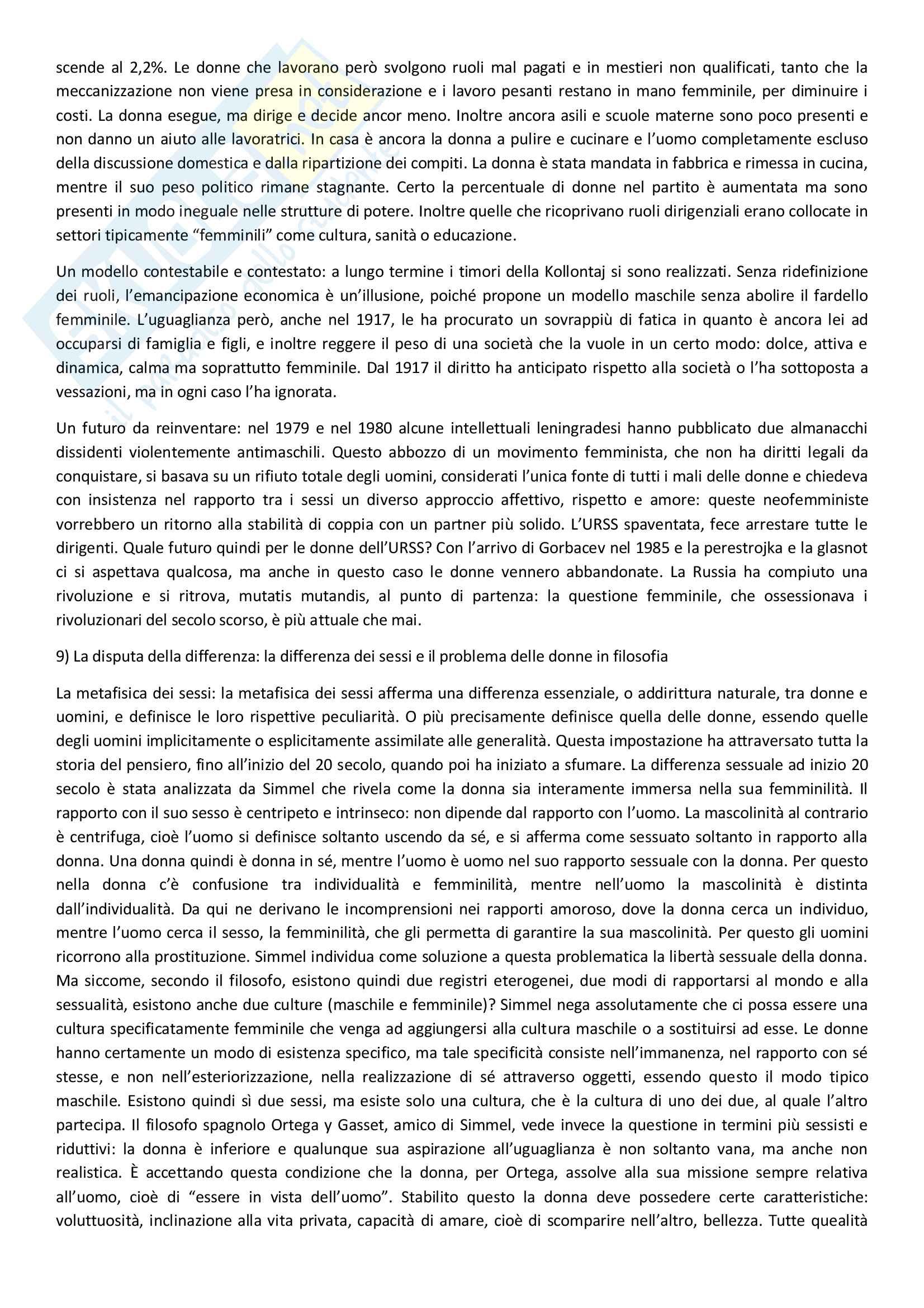 Sunto di storia contemporanea, docente Adorni, libro consigliato Storia delle donne in Occidente - Il Novecento, Autore Duby, Perrot Pag. 31