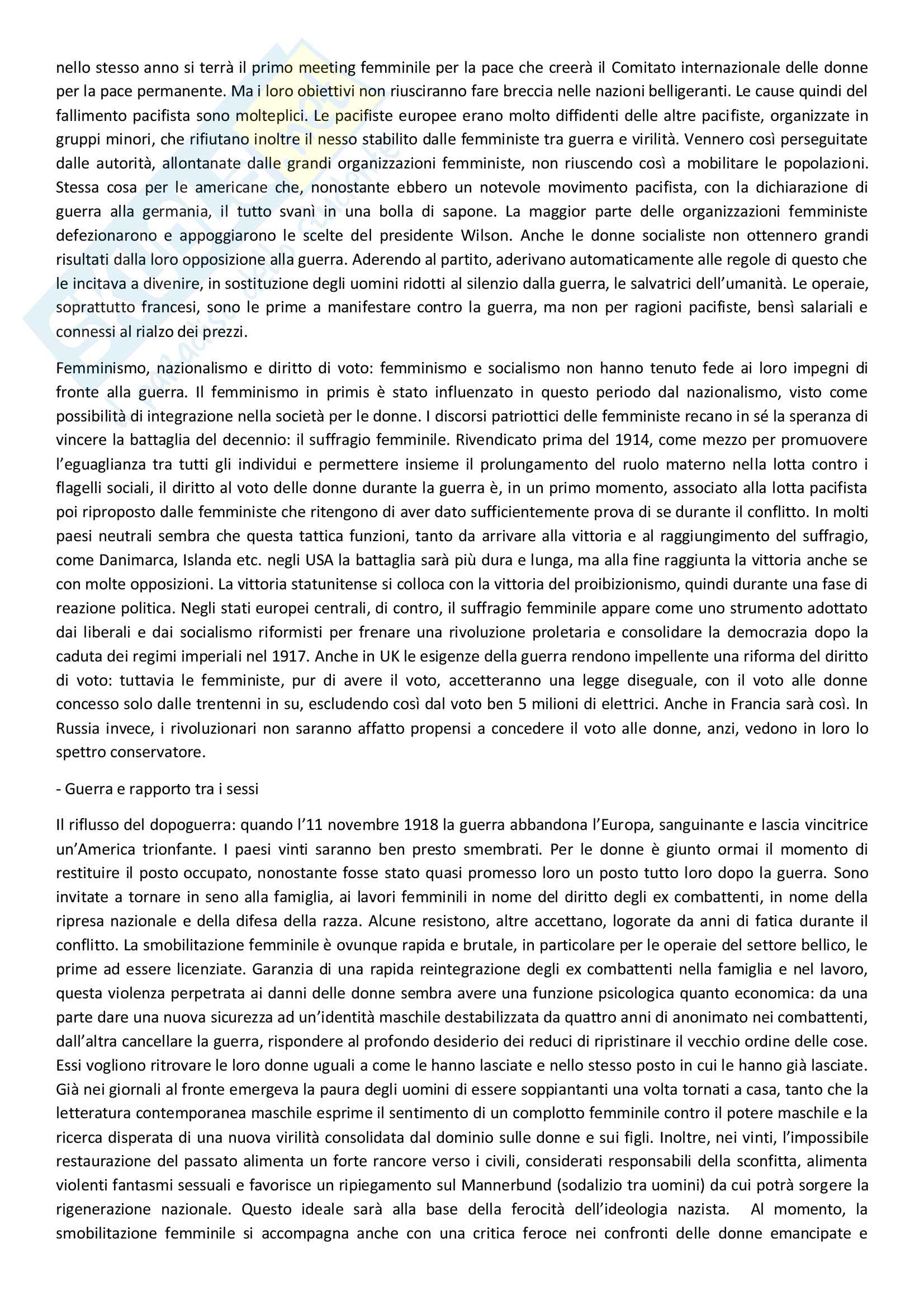 Sunto di storia contemporanea, docente Adorni, libro consigliato Storia delle donne in Occidente - Il Novecento, Autore Duby, Perrot Pag. 6