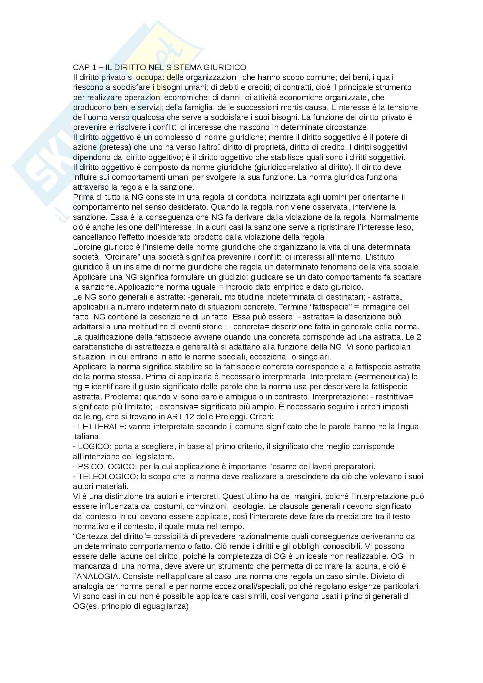 """Riassunto di Diritto privato, prof Ermini, libro consigliato """"Linee essenziali di diritto privato"""", Roppo"""