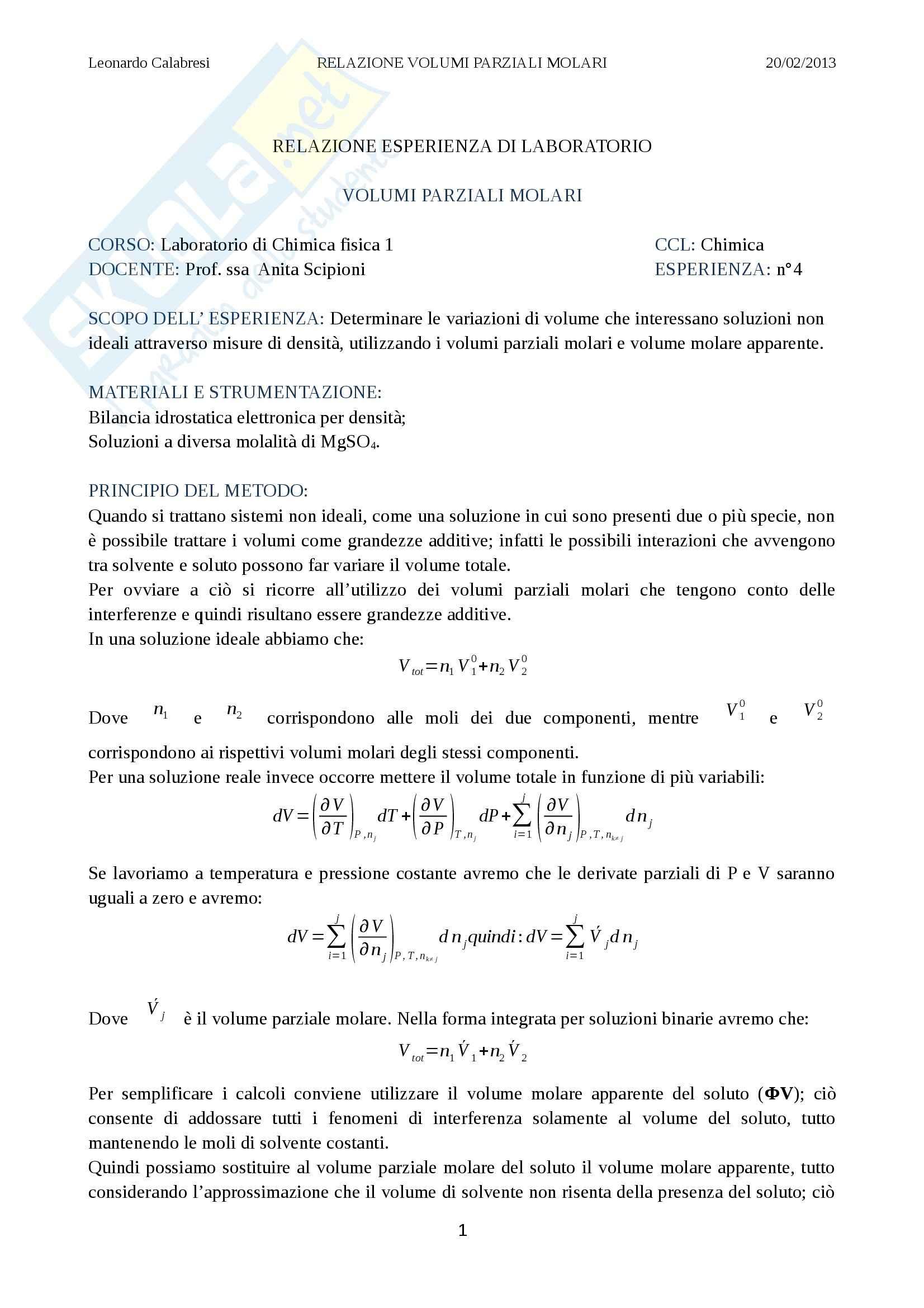 Relazione laboratorio (volumi parziali molari), Chimica fisica