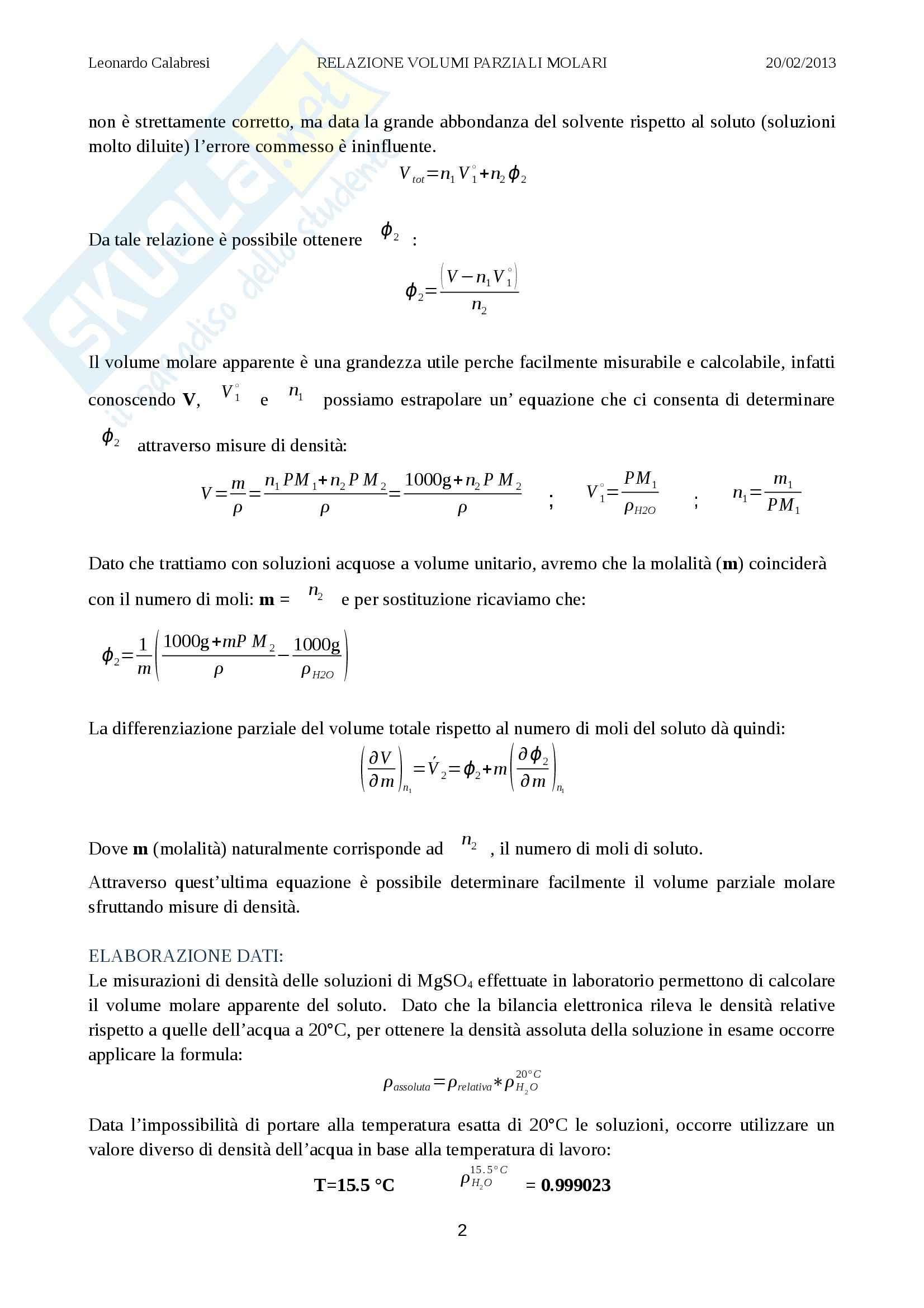 Relazione laboratorio (volumi parziali molari), Chimica fisica Pag. 2