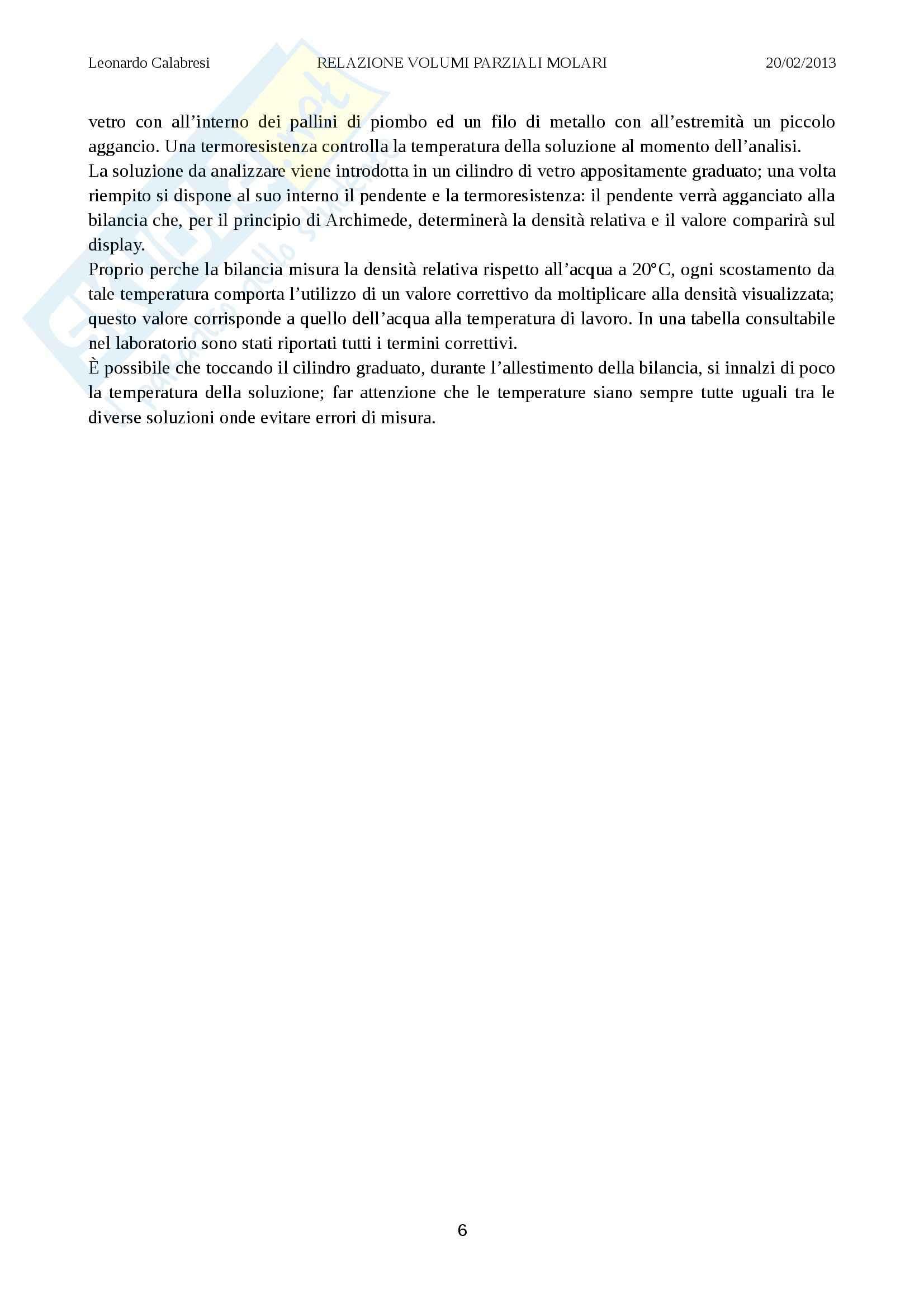 Relazione laboratorio (volumi parziali molari), Chimica fisica Pag. 6
