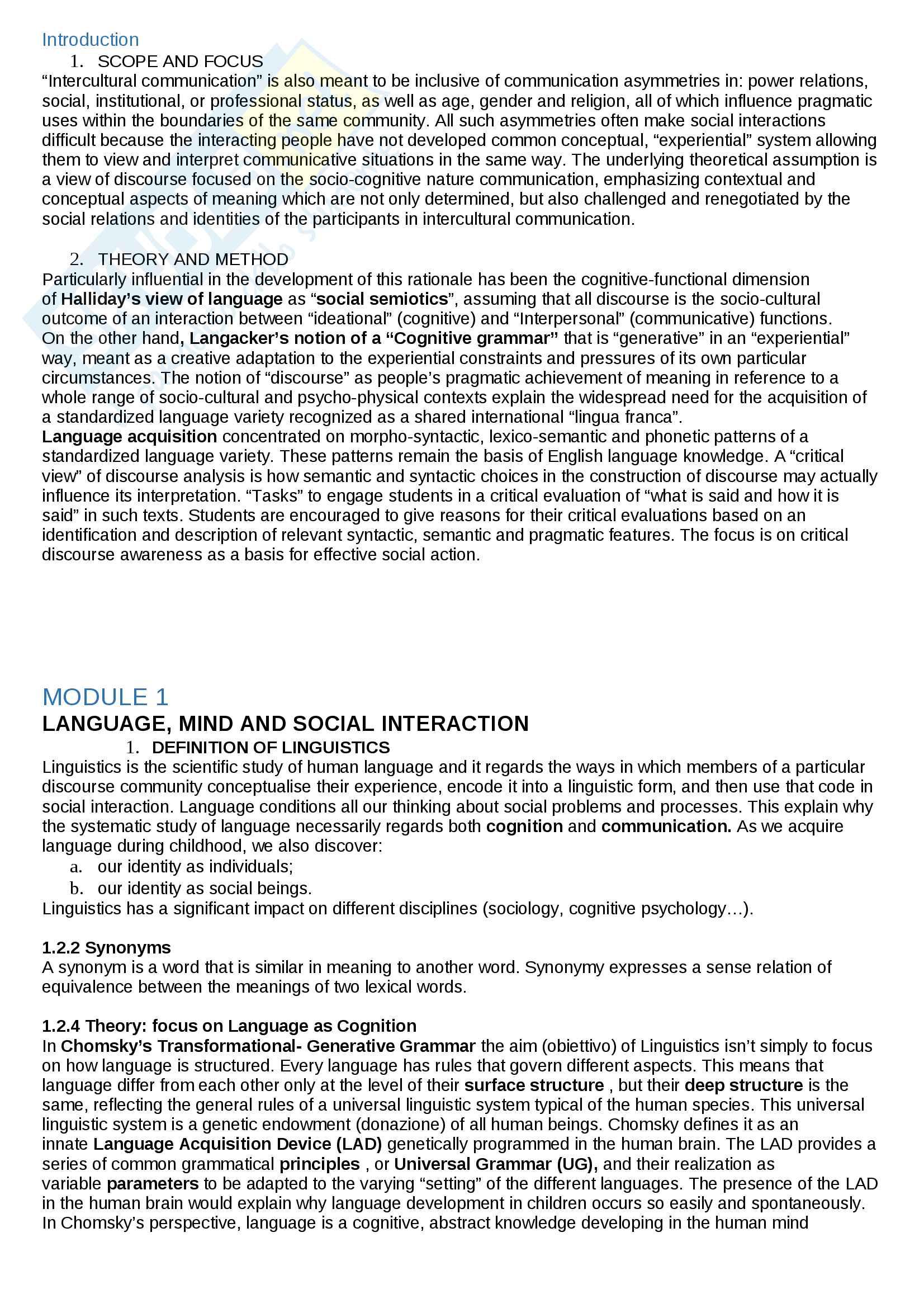 Riassunto esame Lingua e traduzione inglese, prof. Guido, libro consigliato Mediating Cultures, Guido