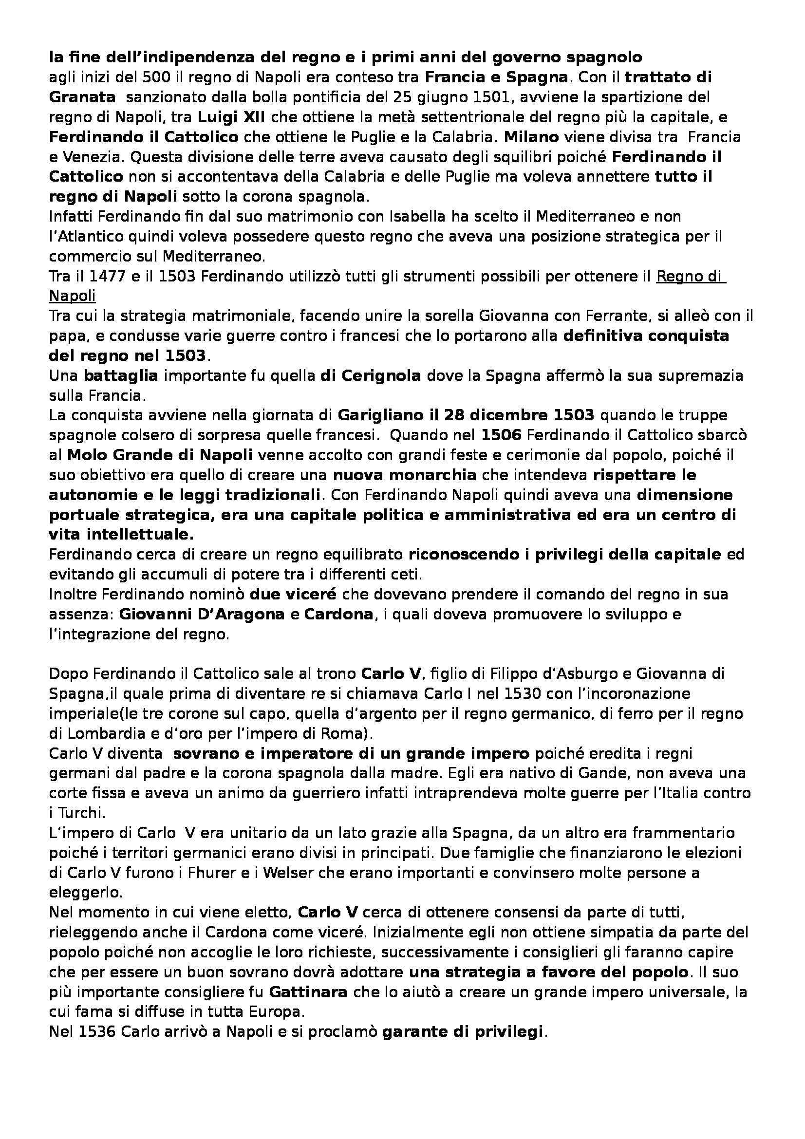 Storia moderna - il regno di Napoli dal 1500 al 1600