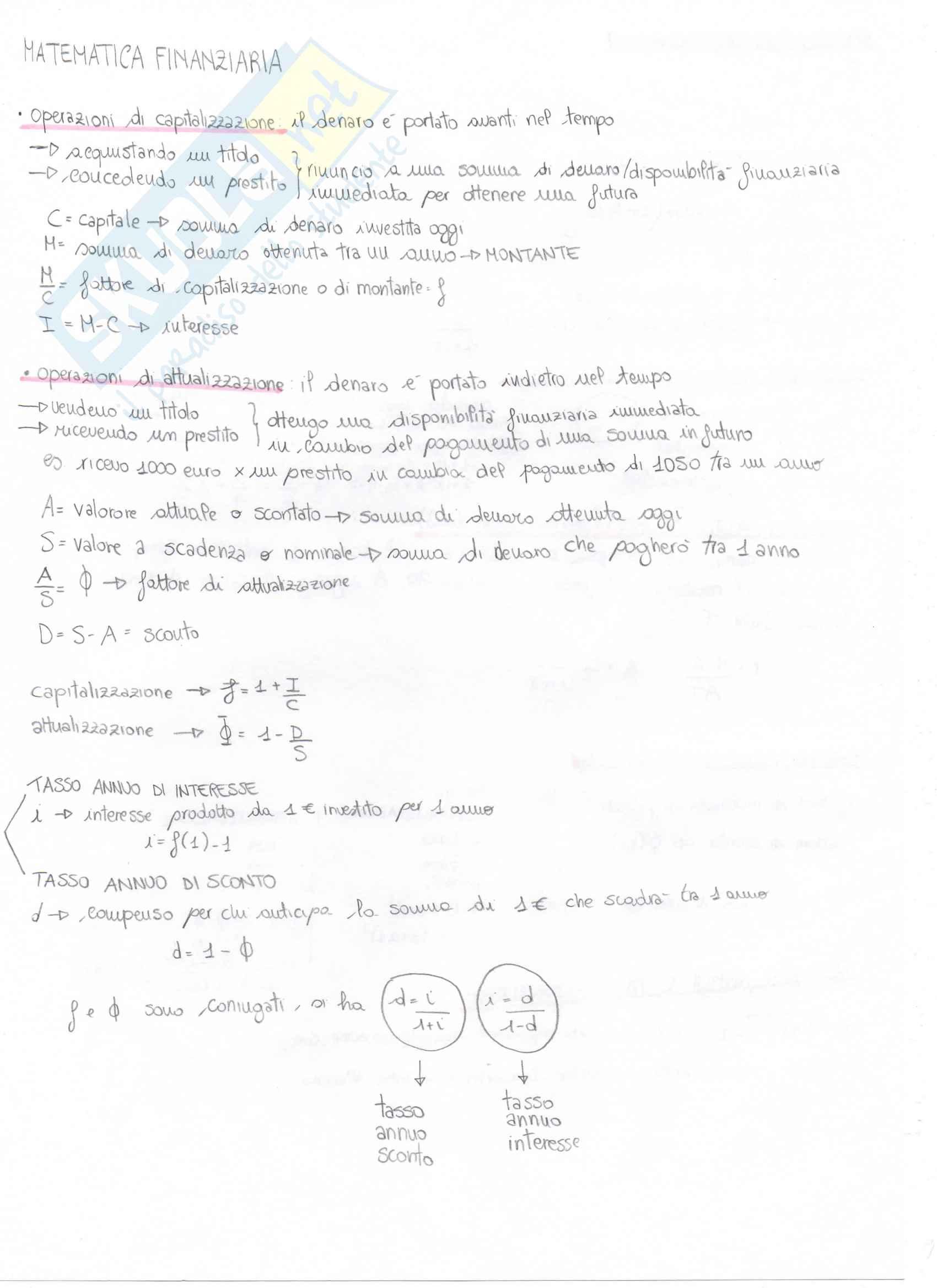Teoria di matematica generale e finanziaria