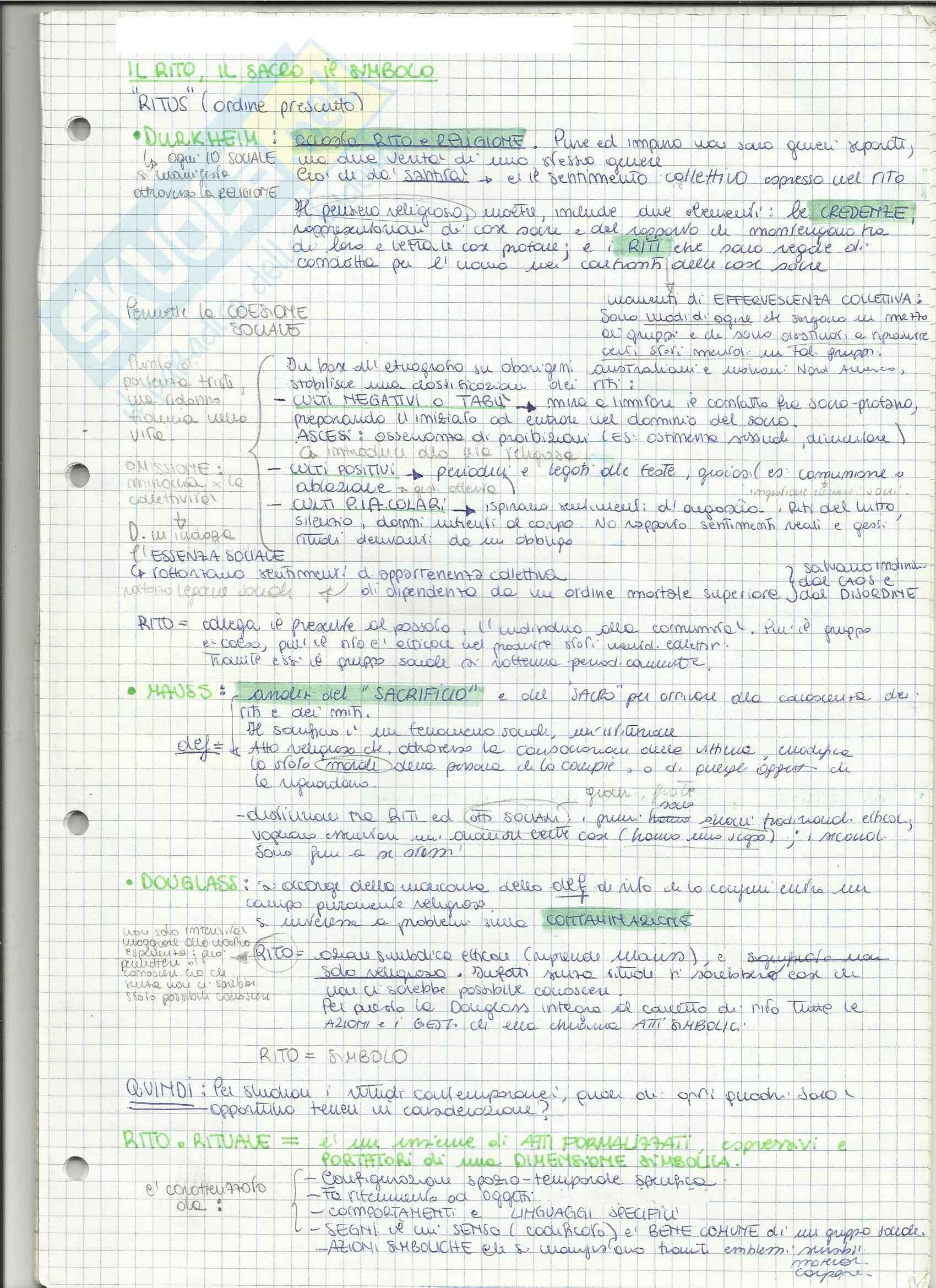Riassunto esame Antropologia culturale, prof. Zola, libro consigliato Riti e Rituali Contemporanei, Segale