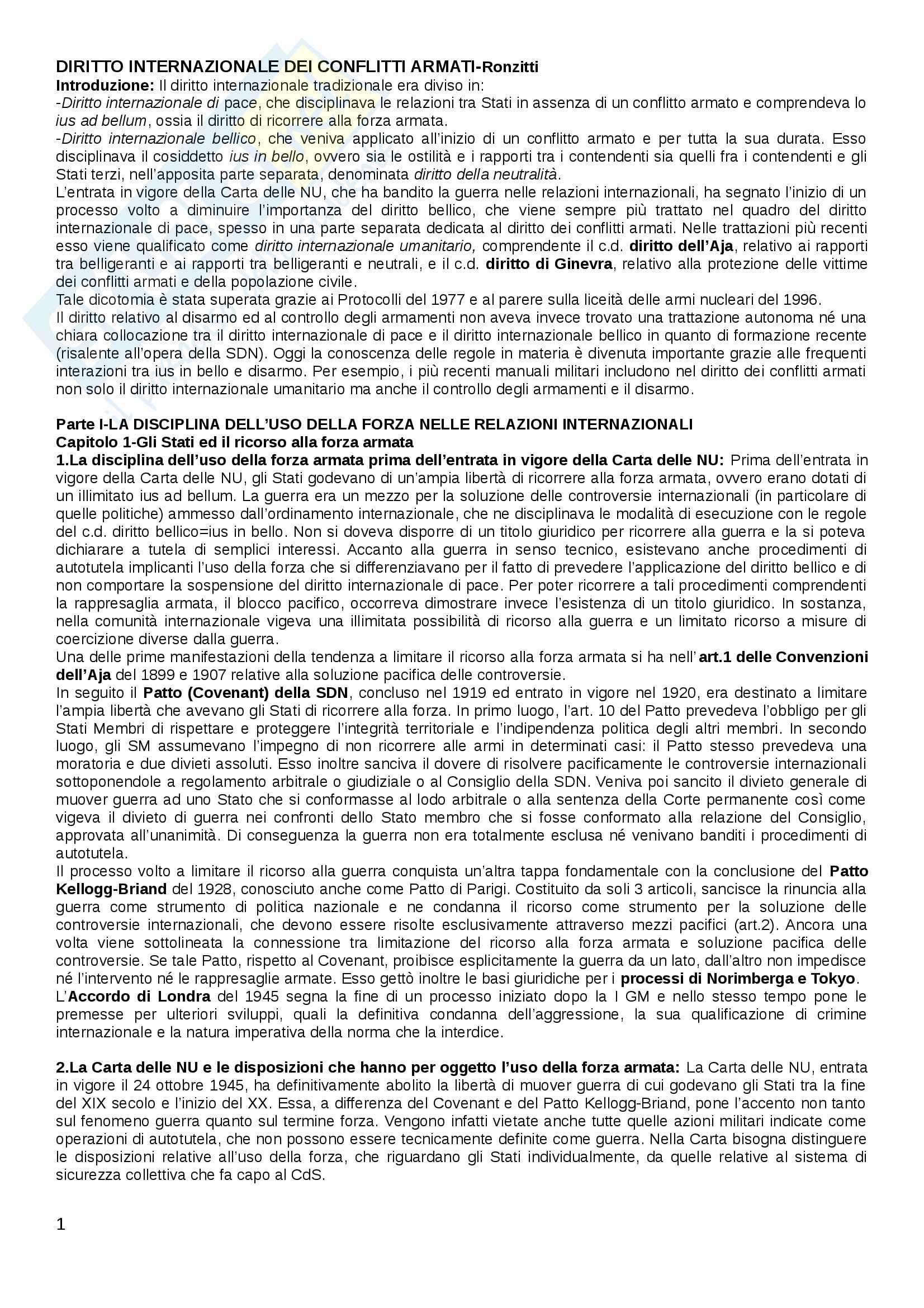 Riassunto esame Diritto internazionale, libro consigliato Diritto internazionale dei conflitti armati di Ronzitti