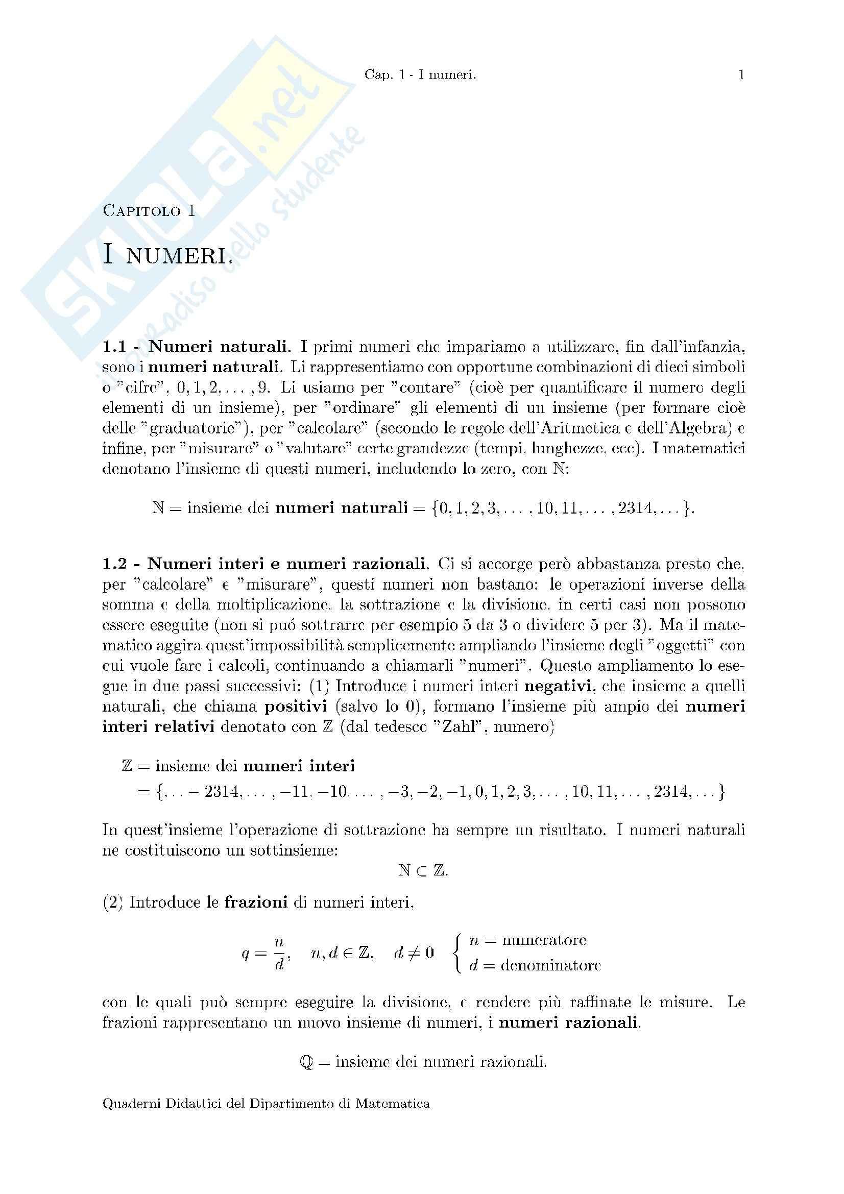 Matematica per le applicazioni I - Appunti (seconda parte)