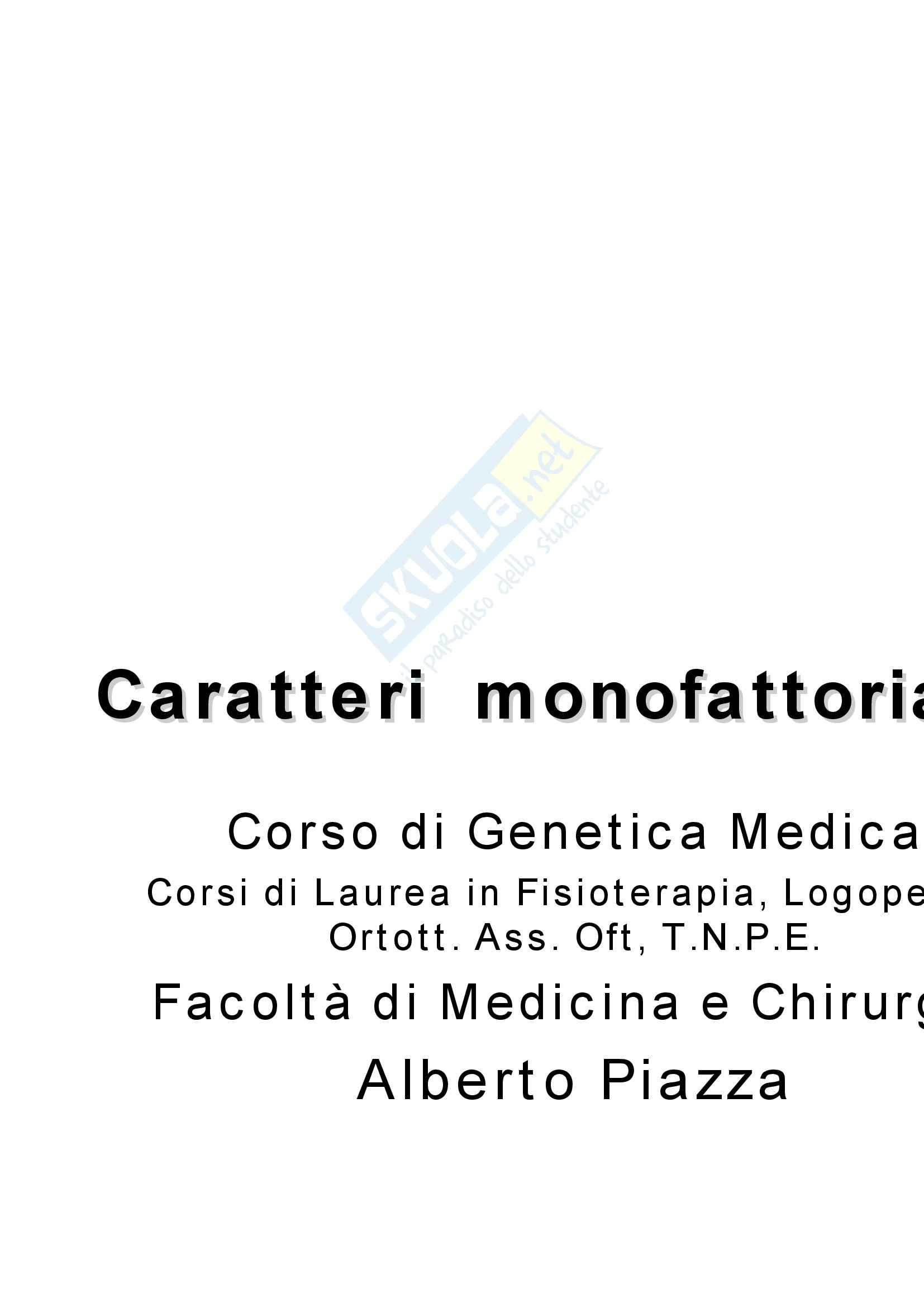 Genetica umana - caratteri monofattoriali