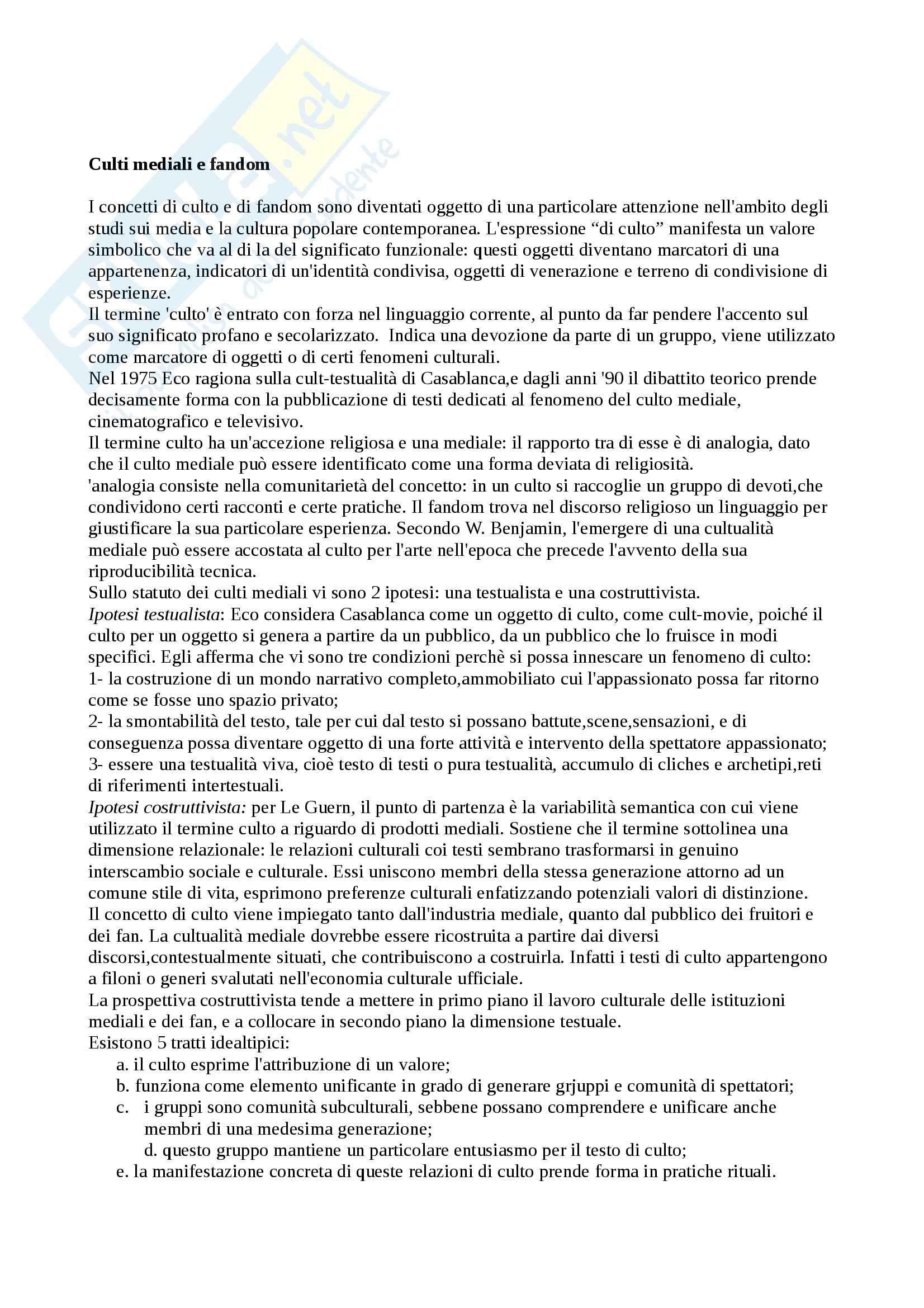 Riassunto esame Sociologia della comunicazione, prof. Paccagnella, libro consigliato Tv di culto, Scaglioni
