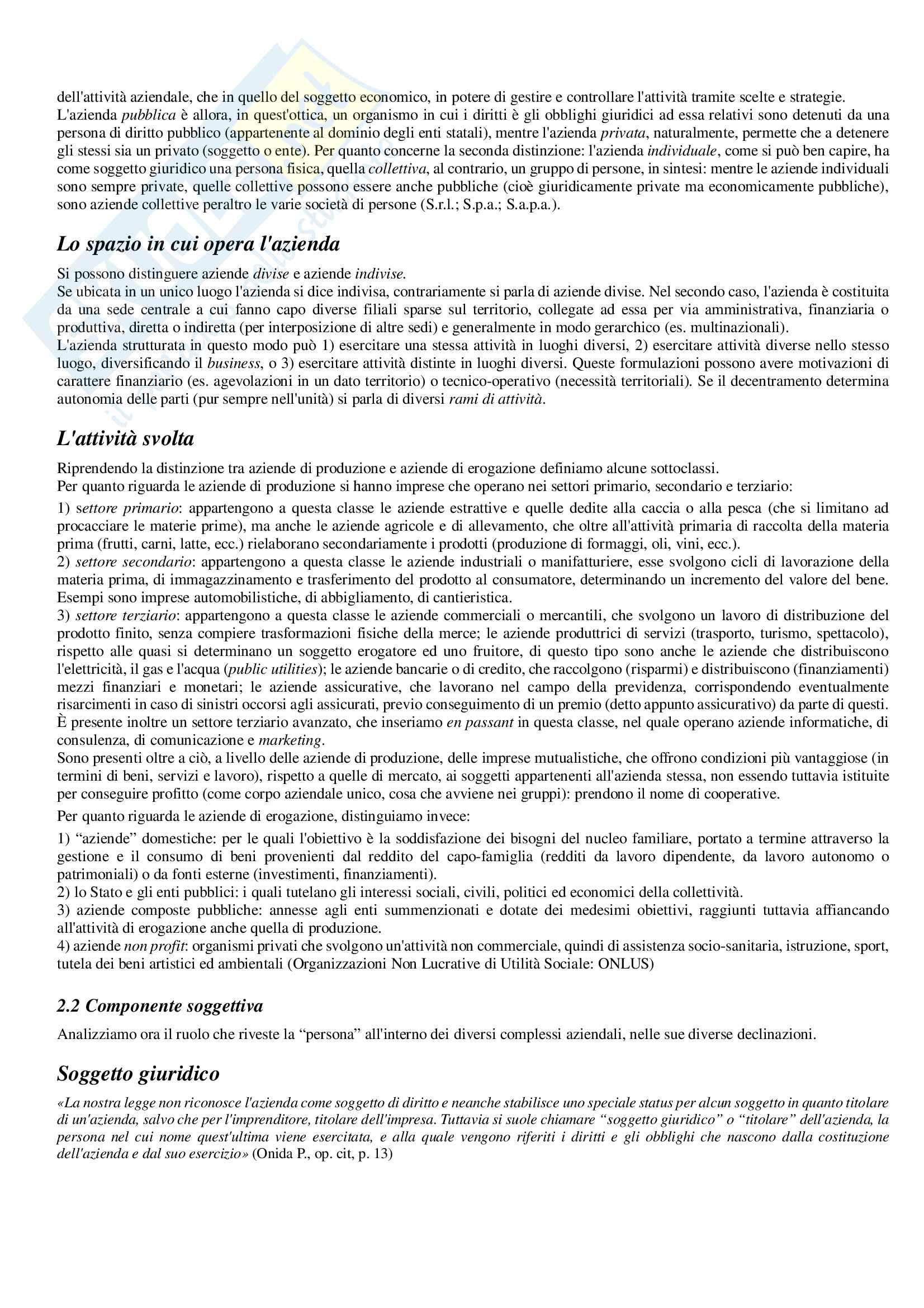 """Sunto esame di Economia aziendale, prof. P. Lizza, testo consigliato P. Lizza - """"Economia aziendale"""", Aracne, 2012 Pag. 6"""