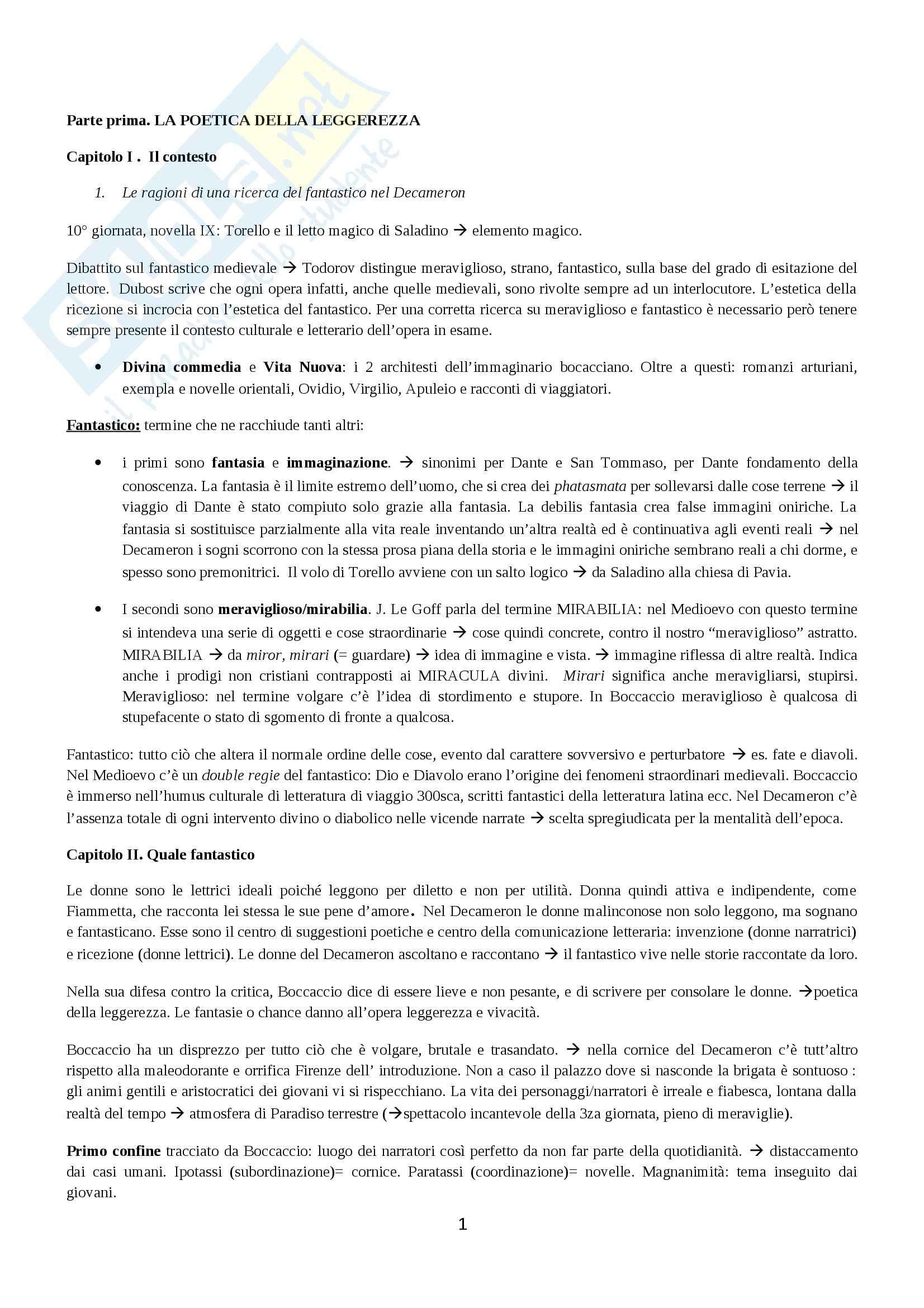 Riassunto esame Letteratura italiana, prof. Viola, libro consigliato Il Decameron fantastico, Menetti