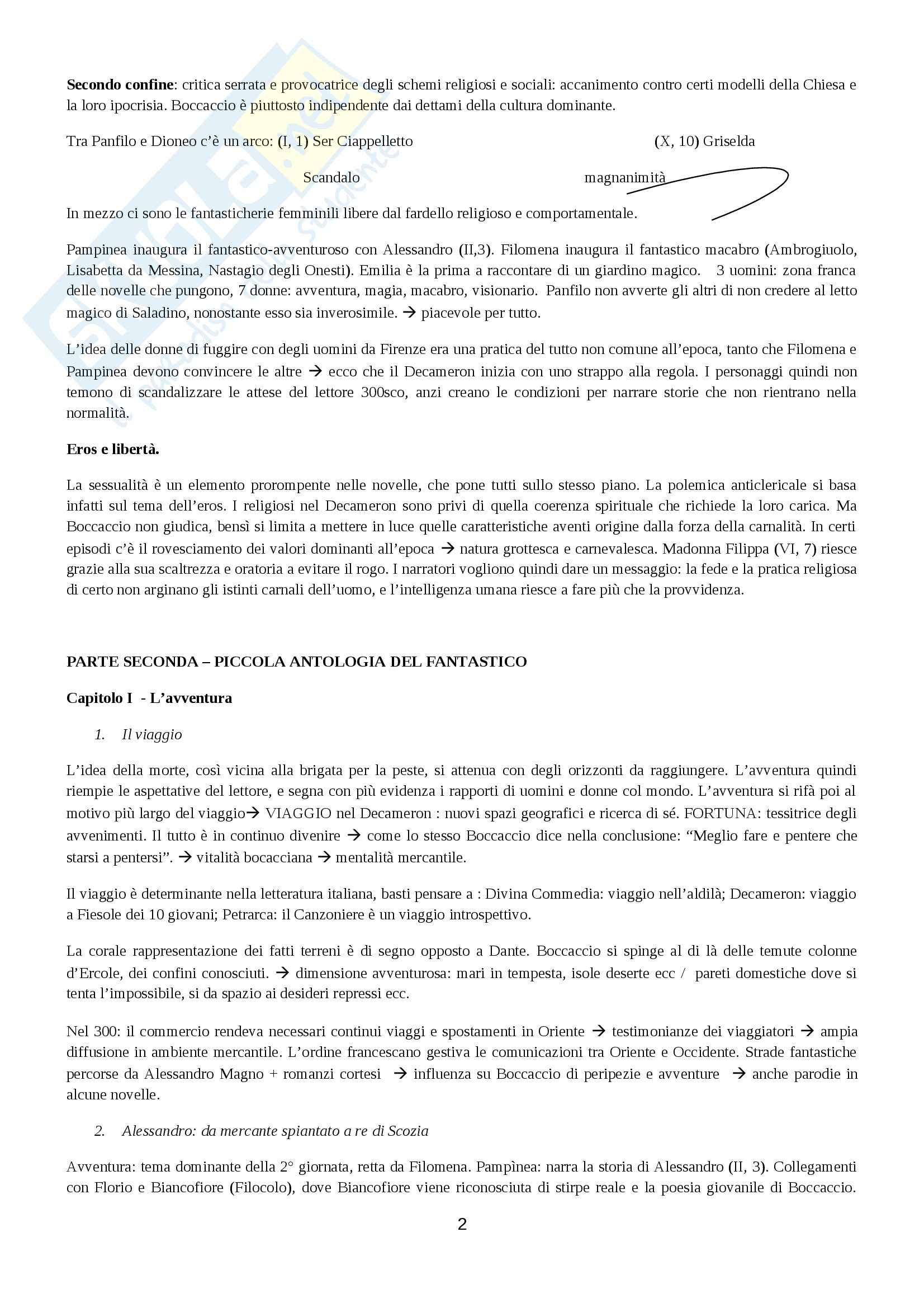Riassunto esame Letteratura italiana, prof. Viola, libro consigliato Il Decameron fantastico, Menetti Pag. 2