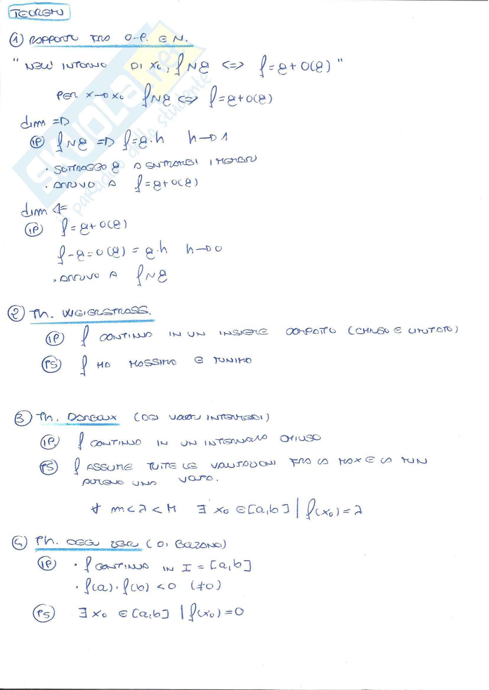 Analisi matematica I - Teoremi