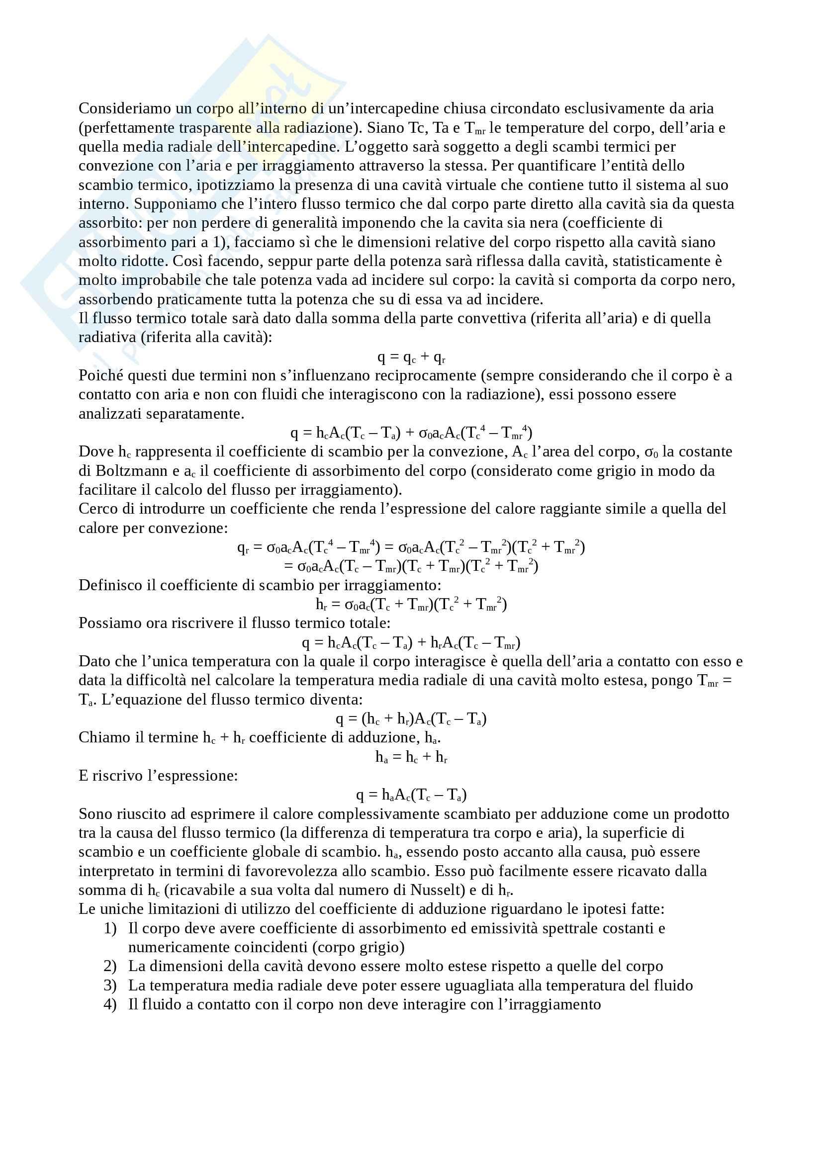 Trasmissione del calore - Coefficiente adduzione