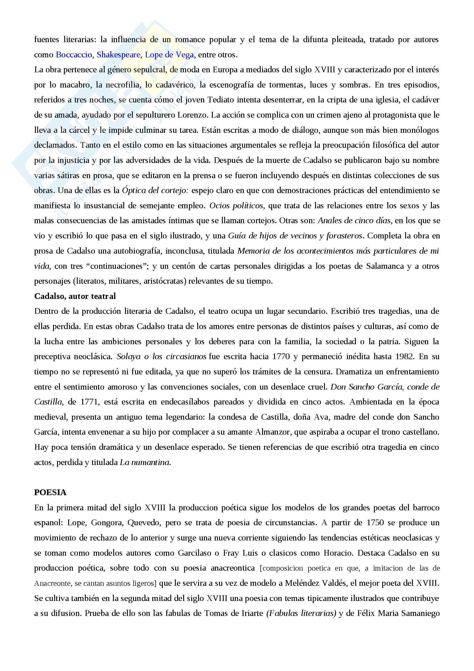 Riassunto letteratura spagnola III, prof.ssa Giovannini, libro consigliato Historia de la literatura espanola, Canavaggio Pag. 11