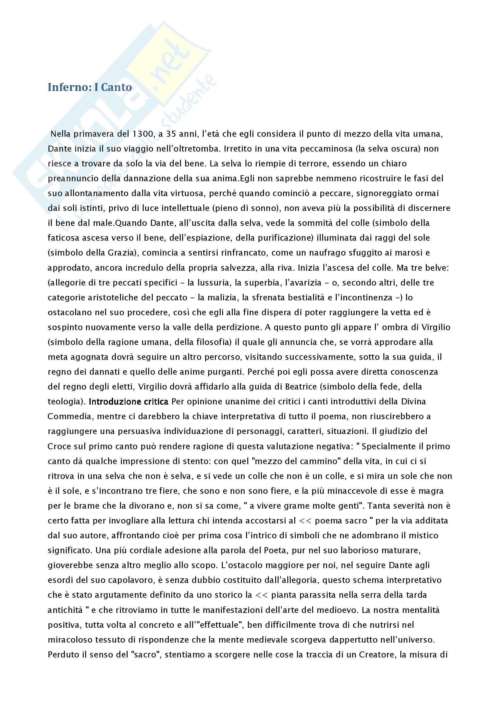 Letteratura italiana - parafrasi del Primo Canto della Divina Commedia