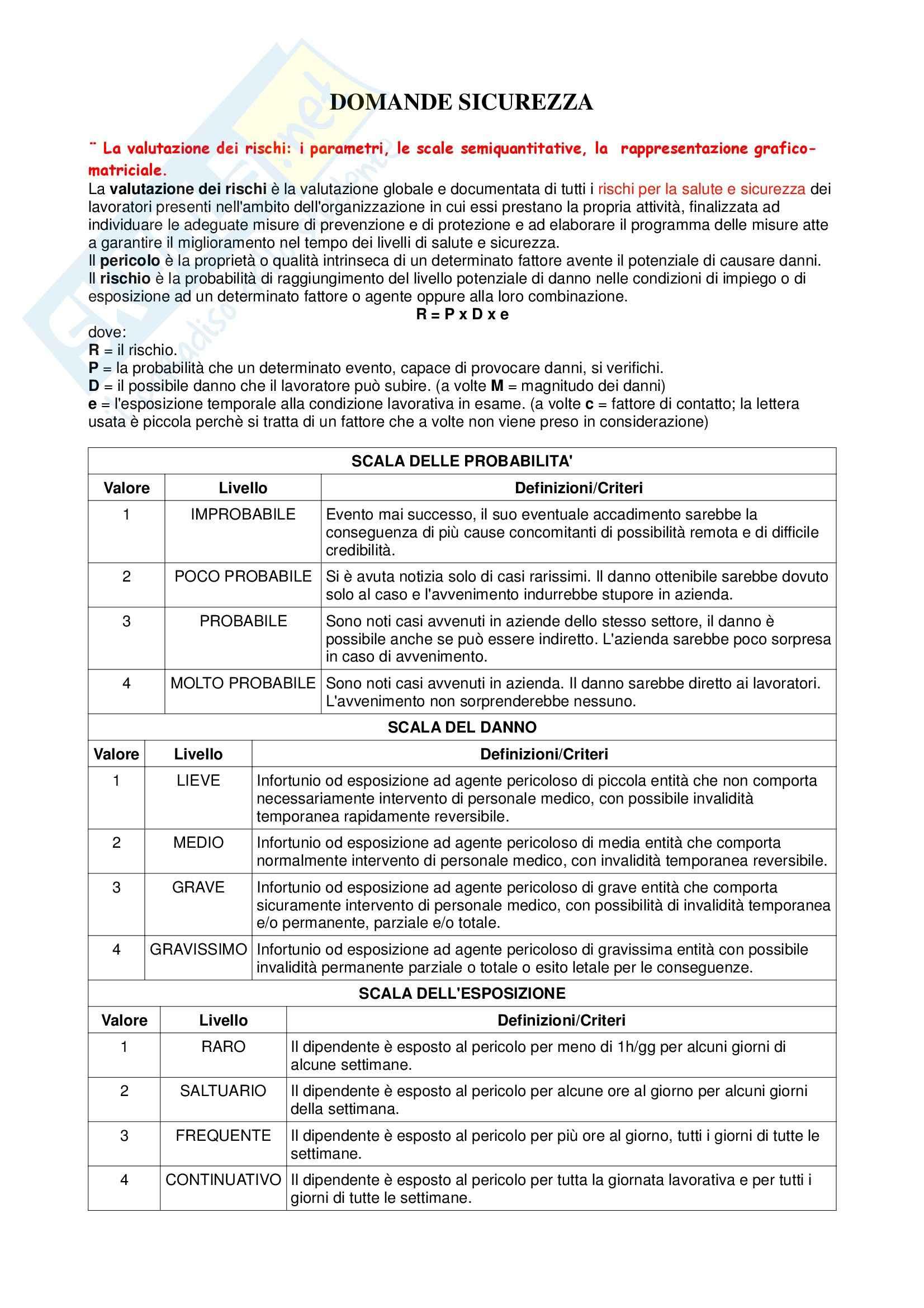 Manutenzione e  sicurezza - Appunti