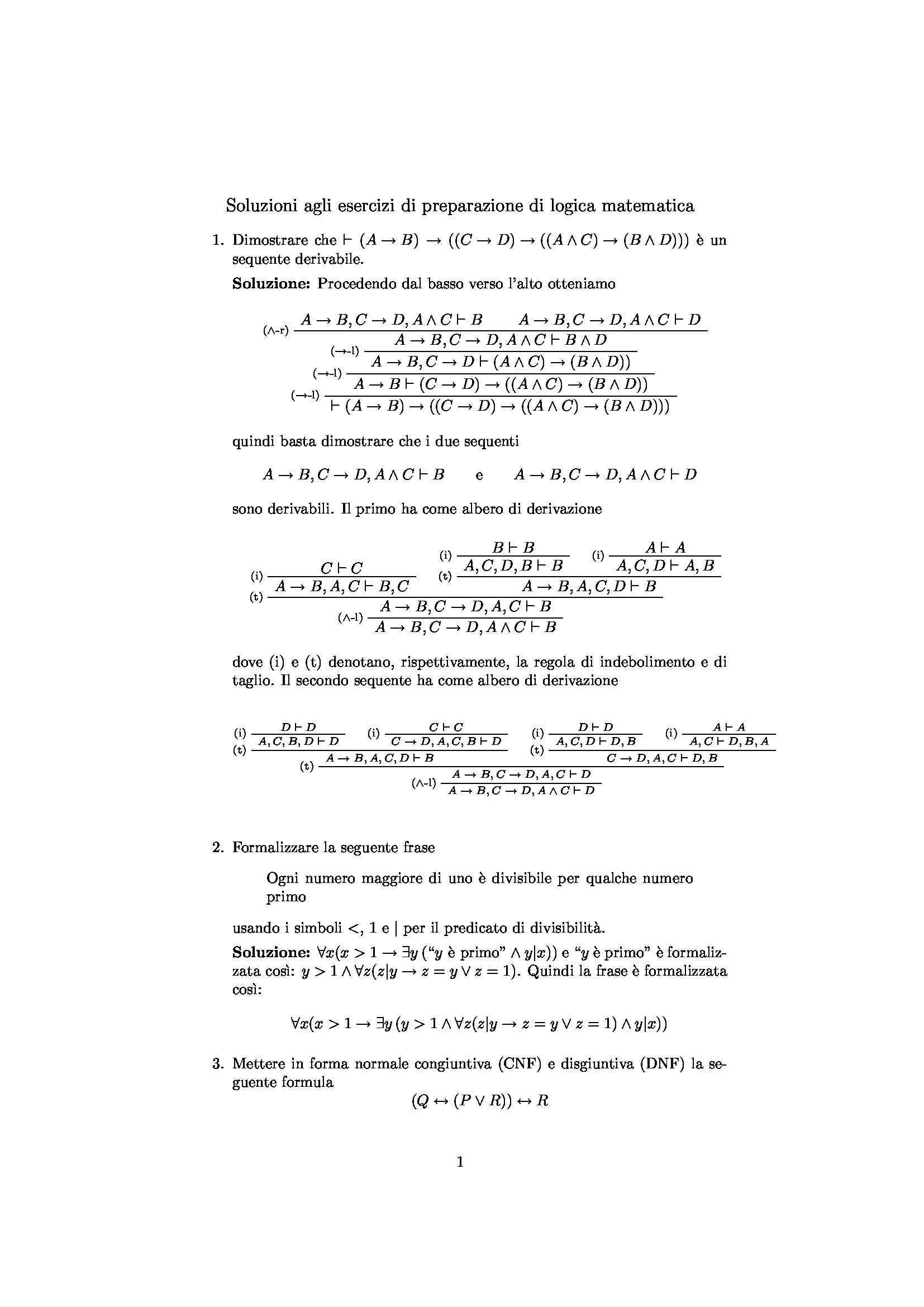Esercizi di Logica matematica svolti