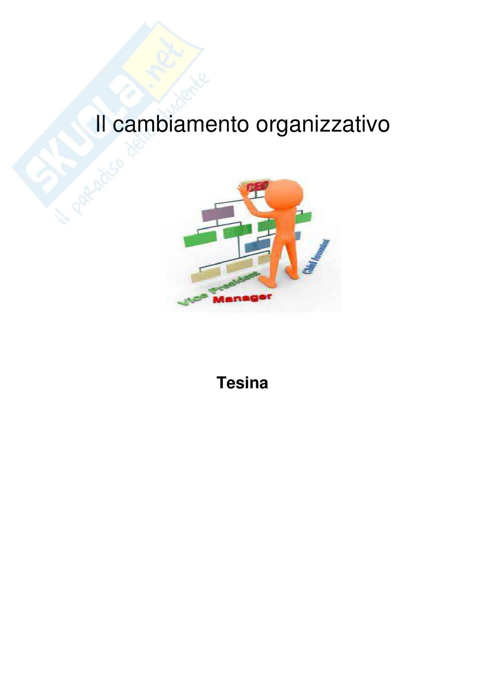Cambiamento organizzativo - tesina sul Change Management