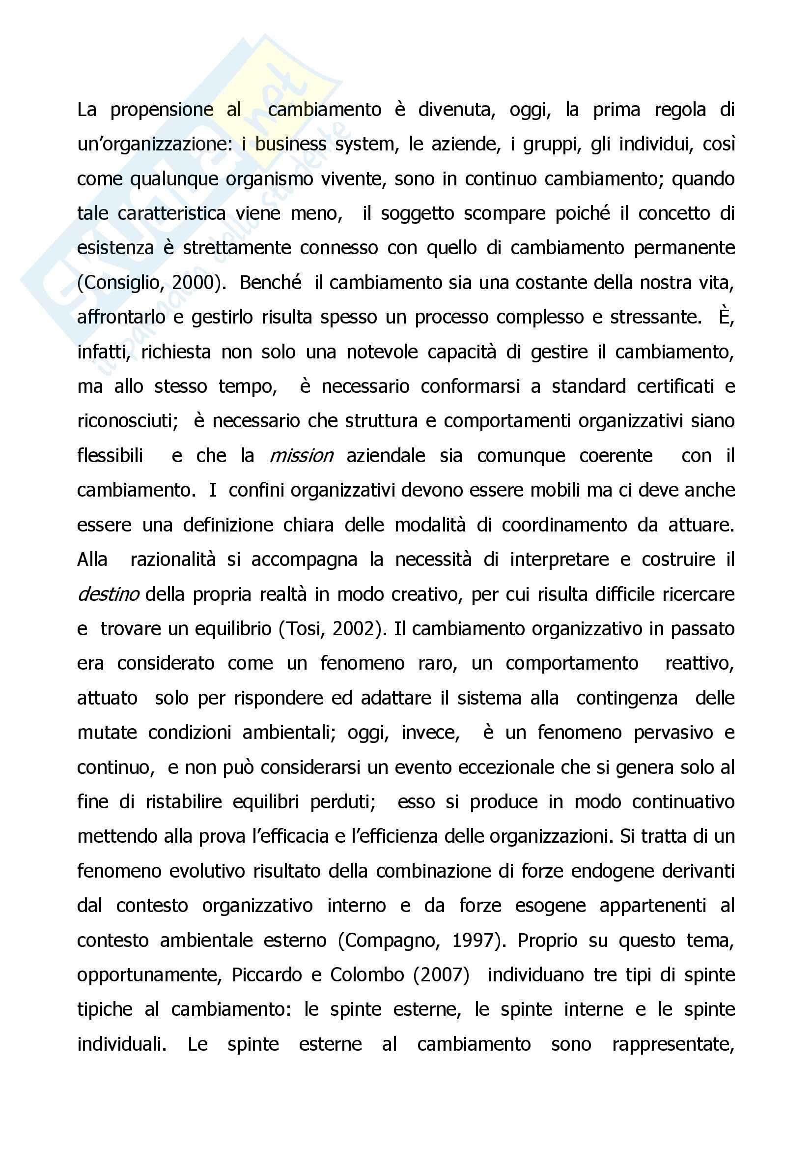 Cambiamento organizzativo - tesina sul Change Management Pag. 6