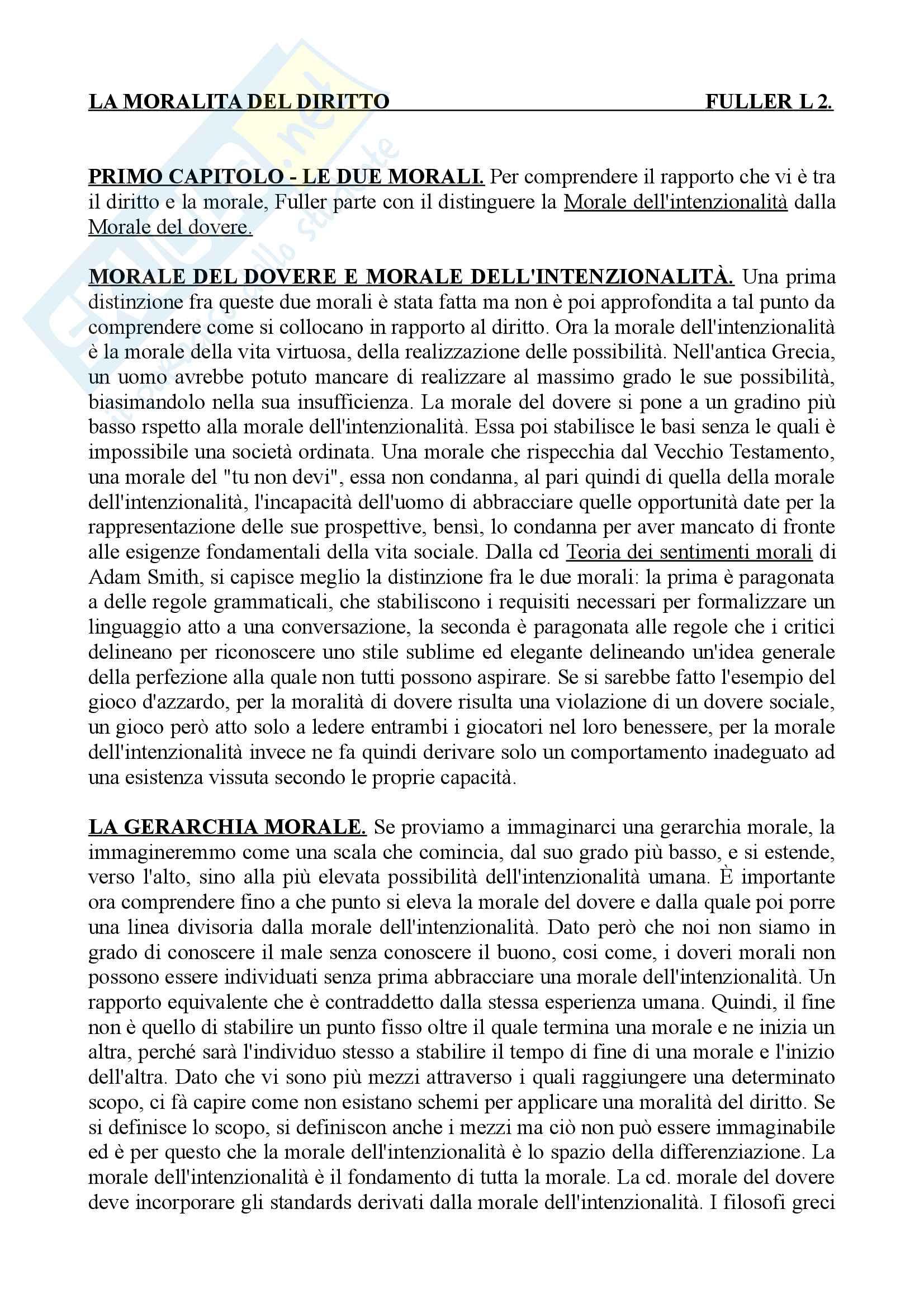 Riassunto dell'esame di Filosofia del Diritto, prof Campanale, libro consigliato La moralità del diritto, Fuller