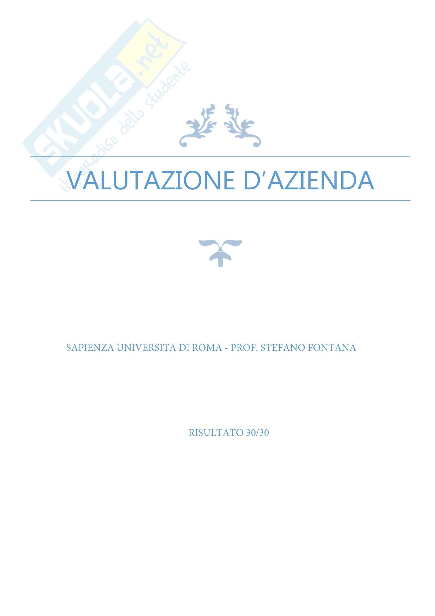 Valutazione d'azienda, prof. Fontana