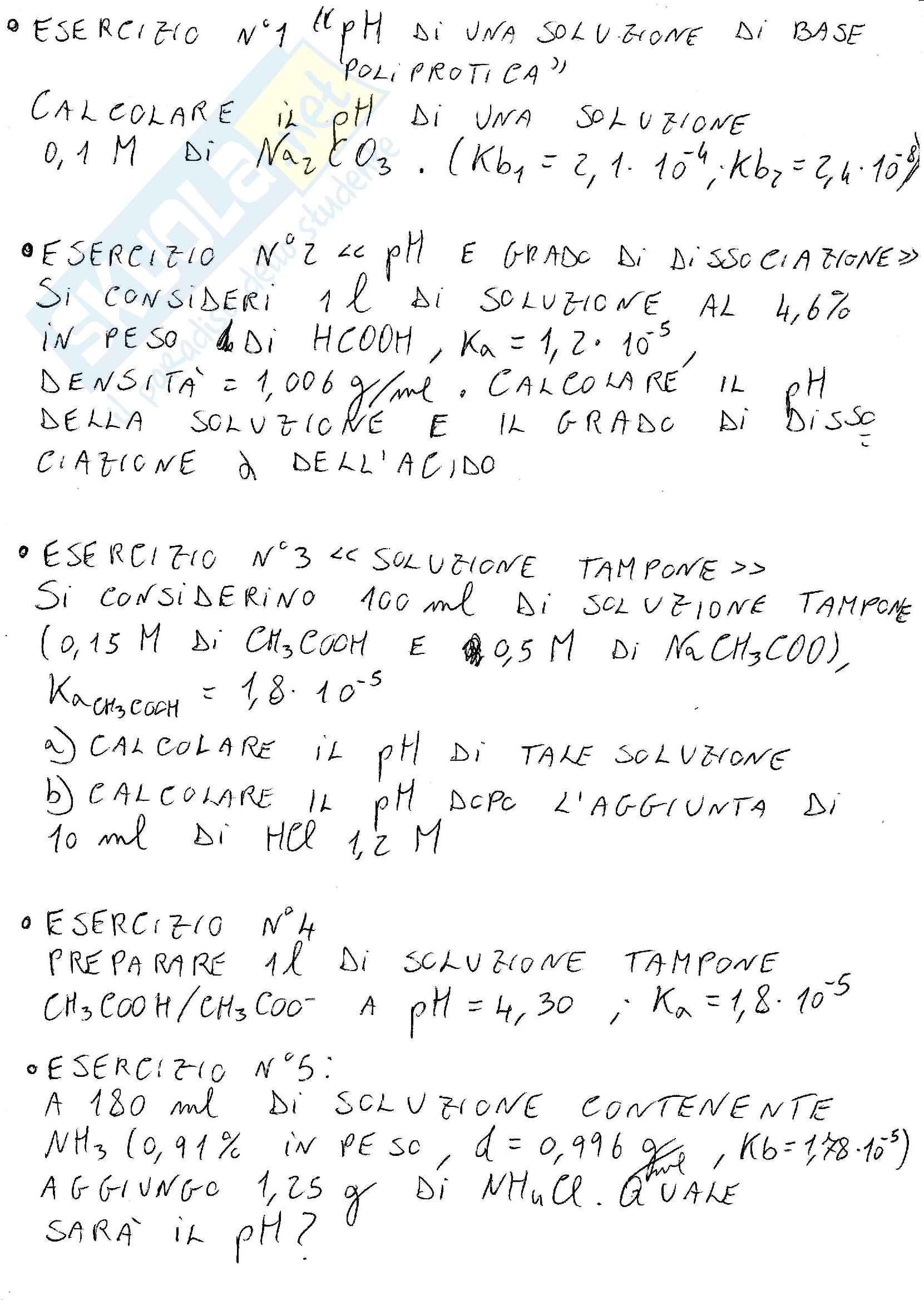 Esercizi svolti : ph di base poliprotica , grado di dissociazione , tampone , acidi , basi , sali , equazione di henderson hasselbach