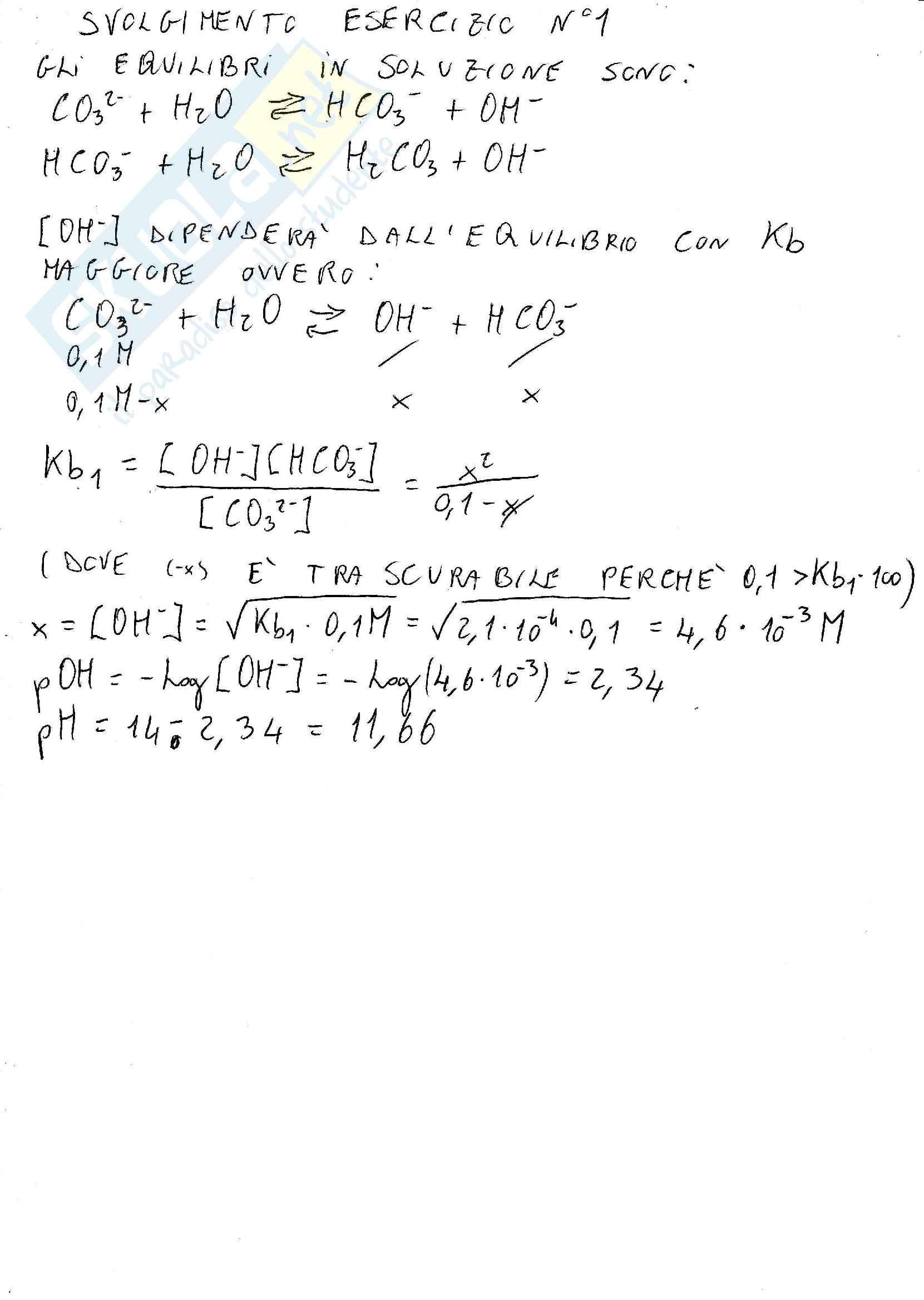 Esercizi svolti : ph di base poliprotica , grado di dissociazione , tampone , acidi , basi , sali , equazione di henderson hasselbach Pag. 2