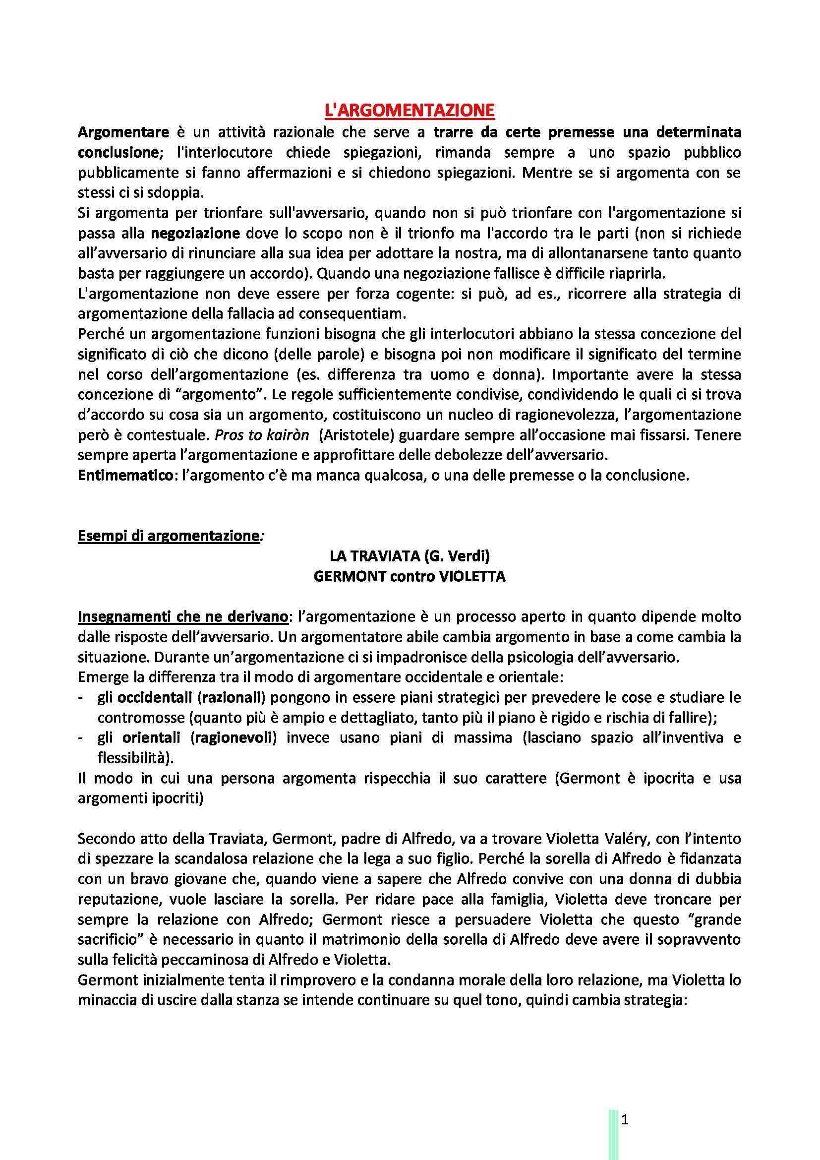 Logica e Argomentazione Giuridica - Appunti e sunti, prof. Artosi