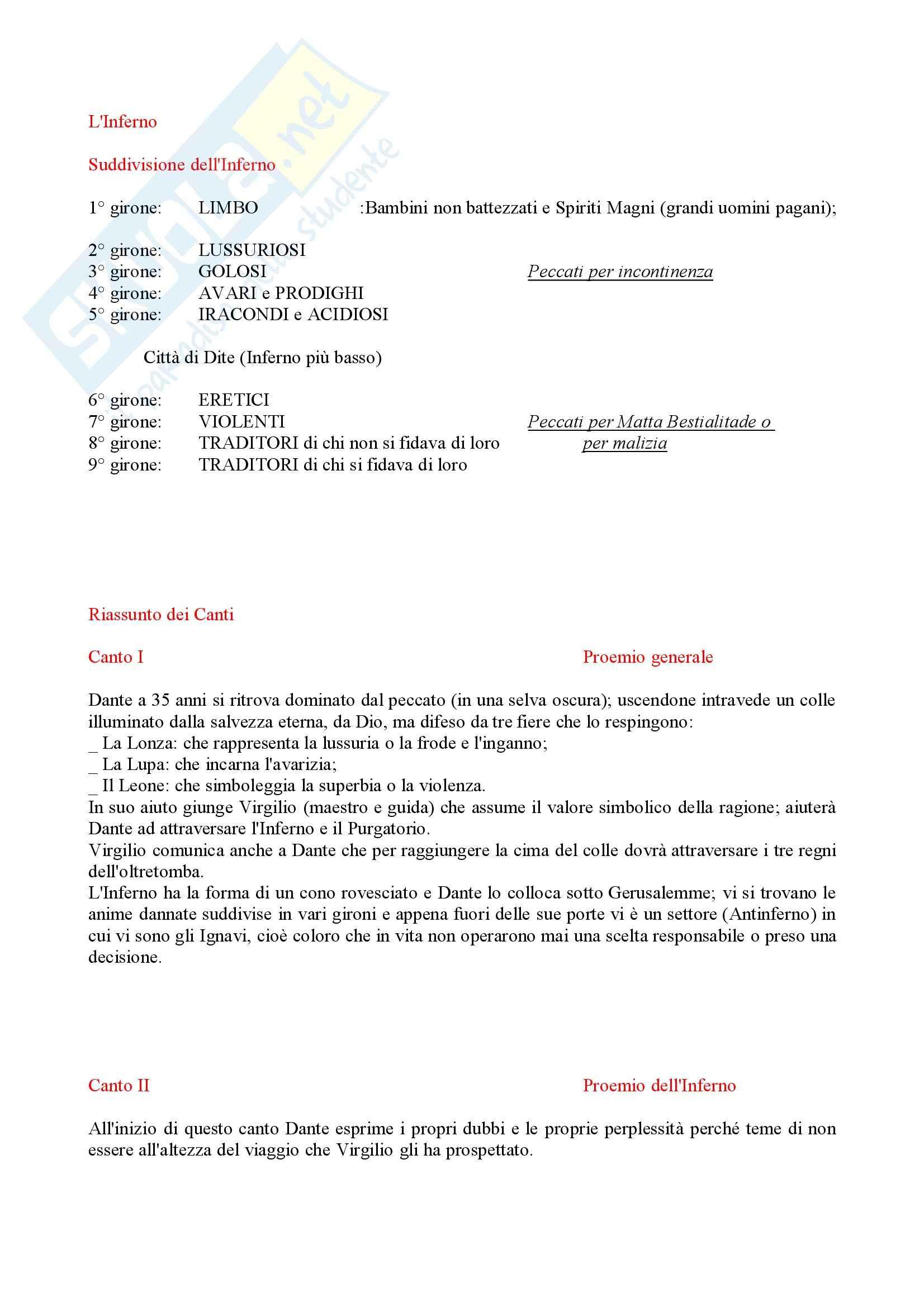 Divina commedia, Inferno - Riassunto, prof. Tateo Pag. 2