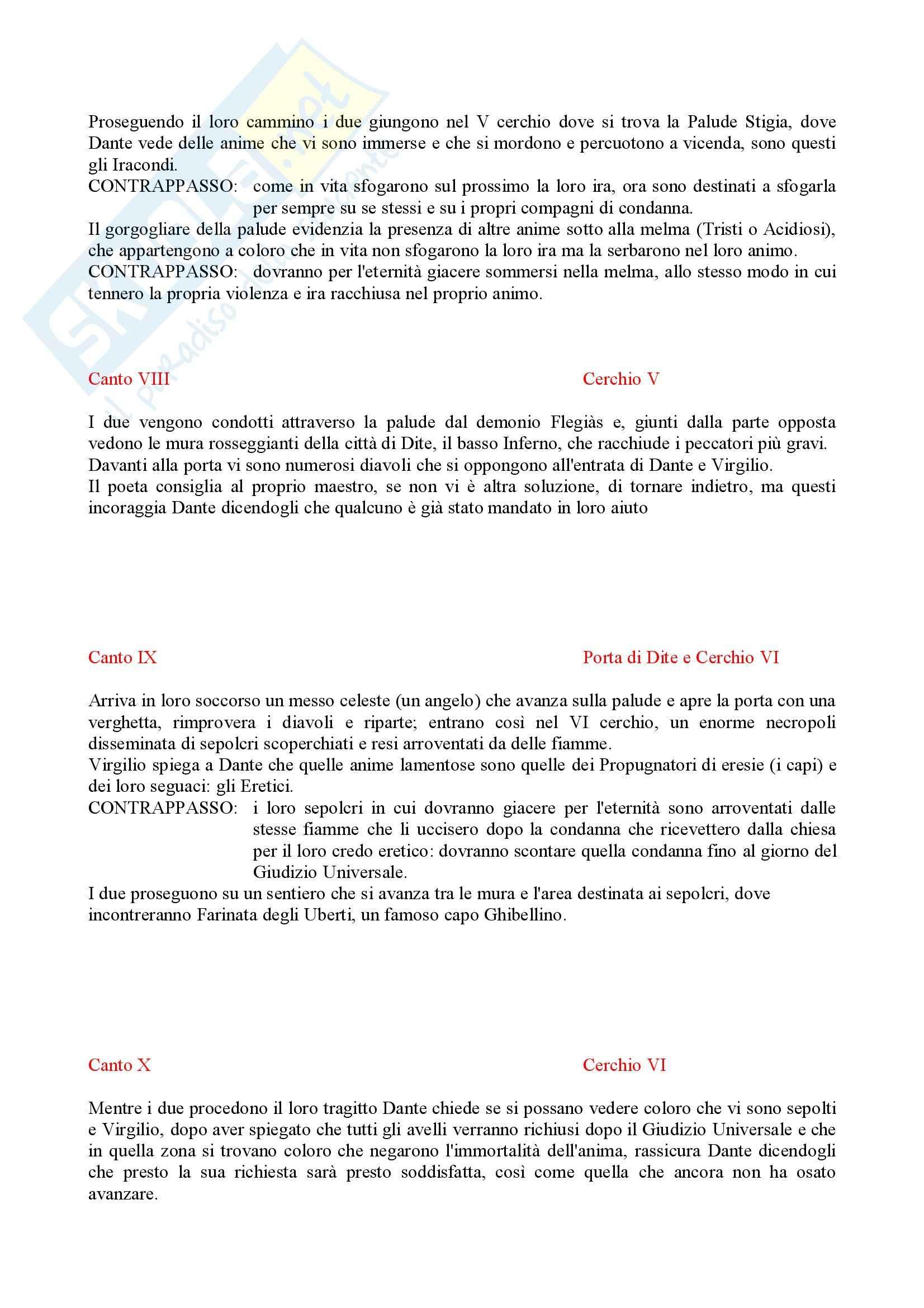 Divina commedia, Inferno - Riassunto, prof. Tateo Pag. 6