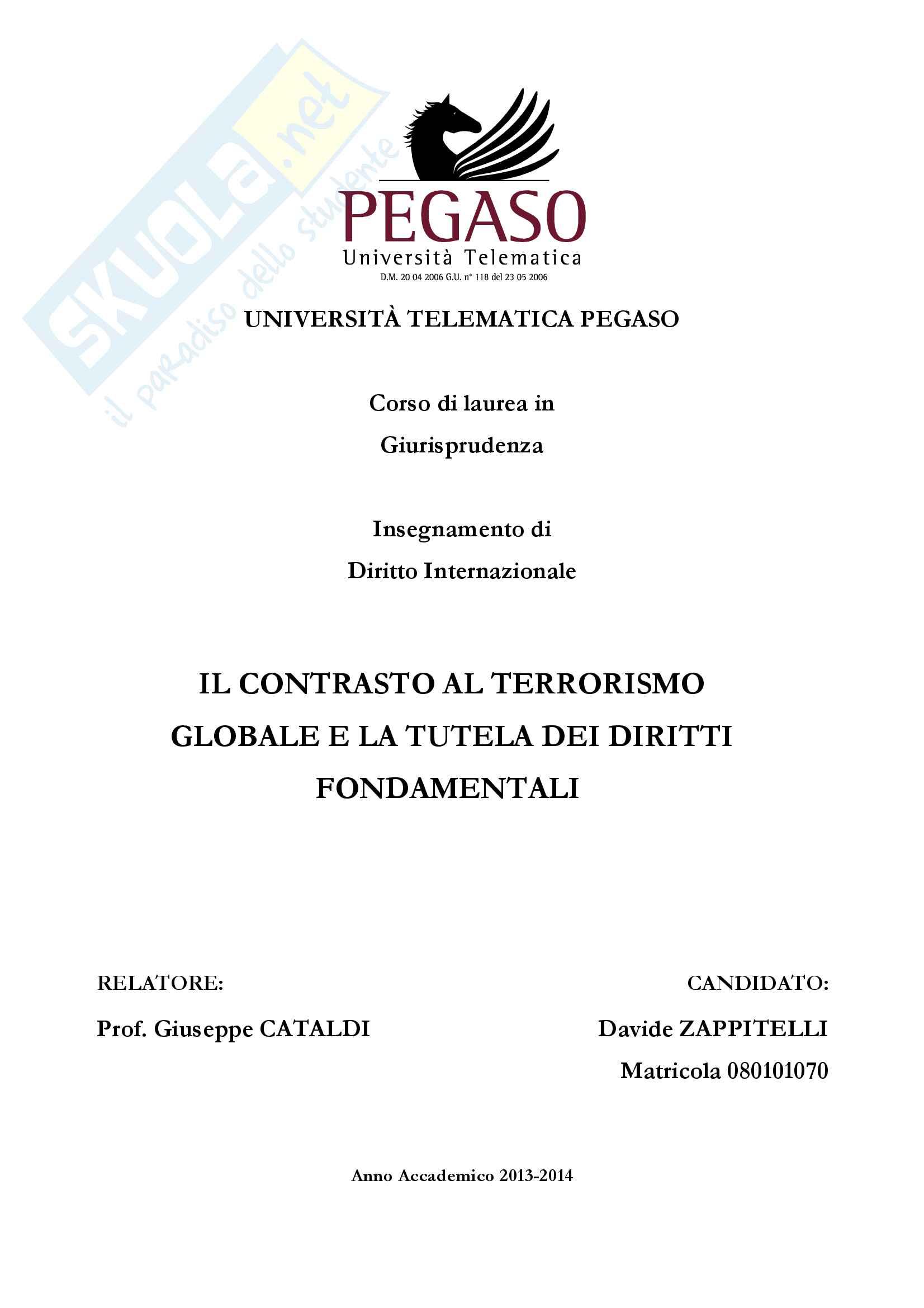 il contrasto al terrorismo e la tutela dei diritti fondamentali
