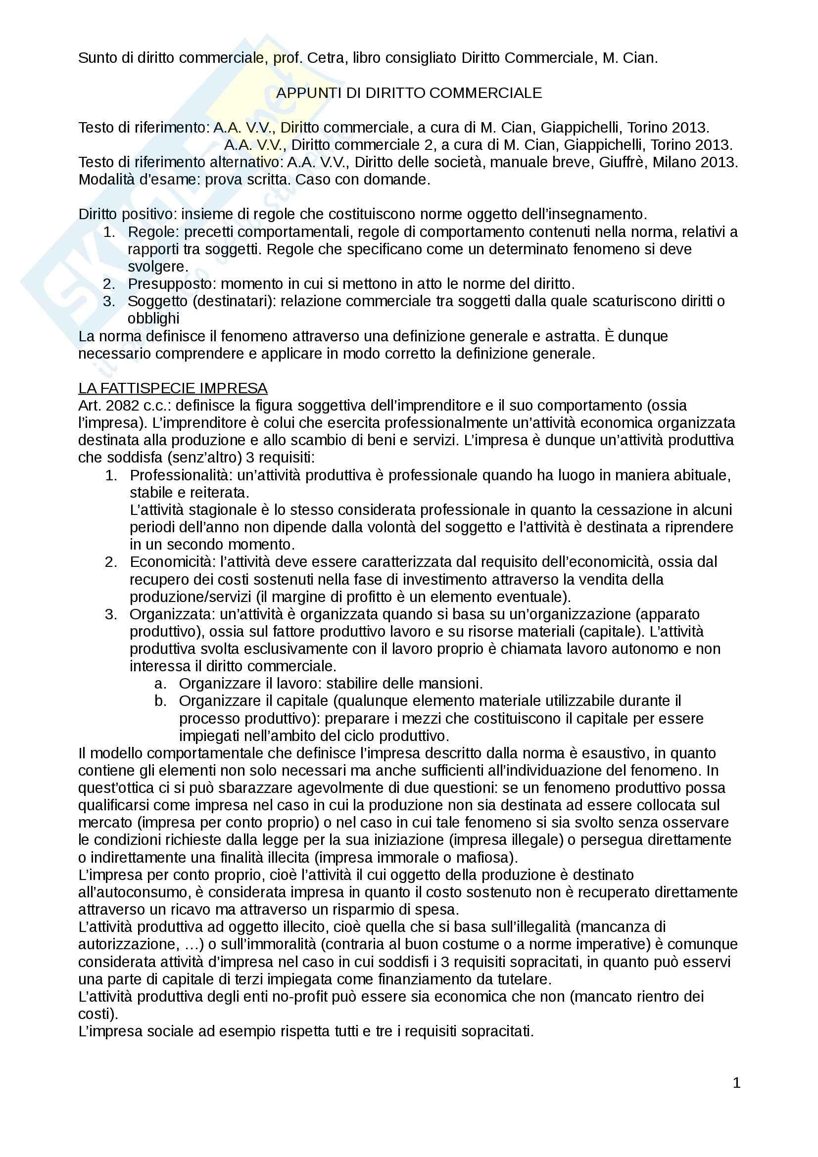 Riassunto esame diritto commerciale, prof. Cetra, libro consigliato Diritto Commerciale, Cian