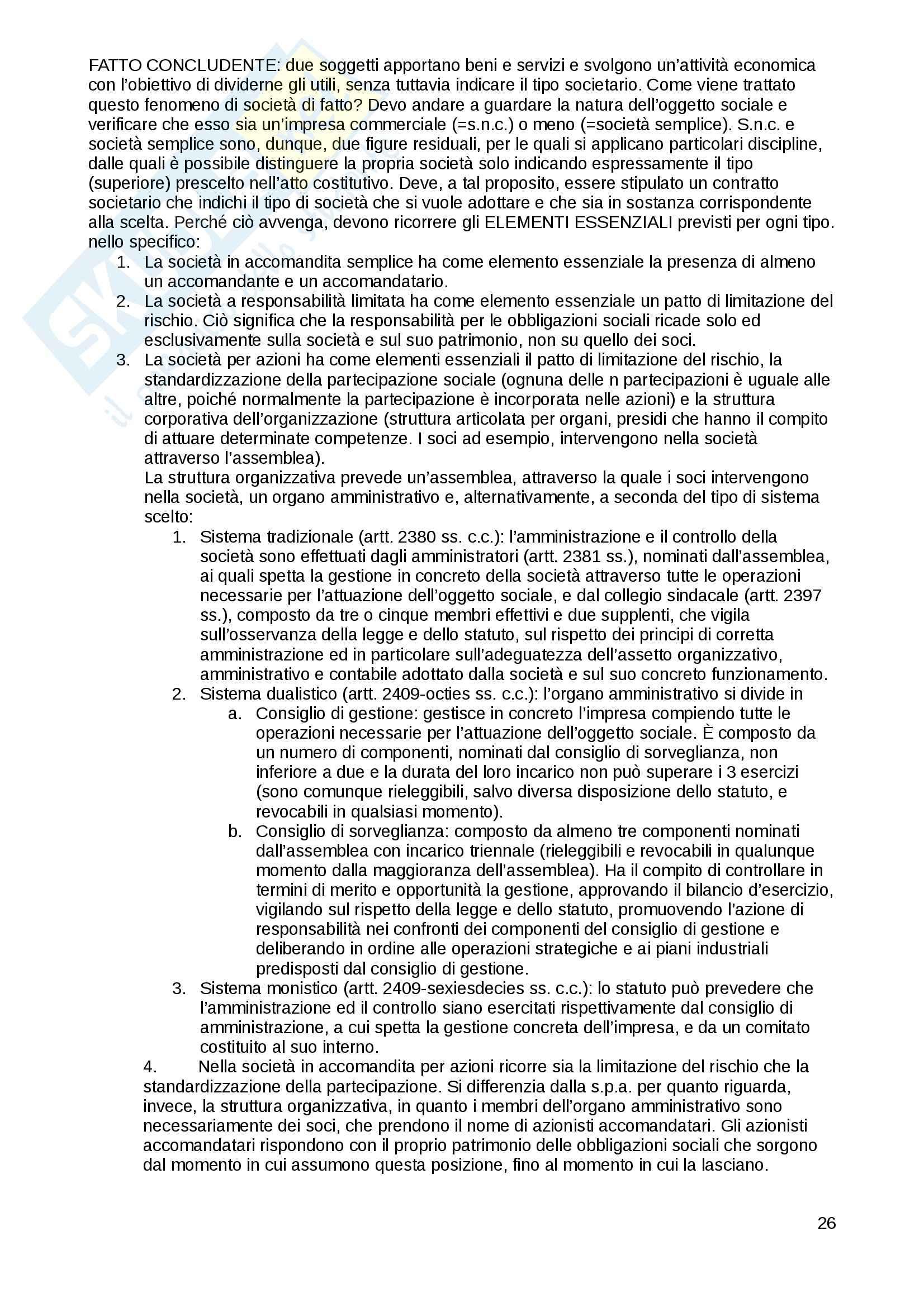 Riassunto esame diritto commerciale, prof. Cetra, libro consigliato Diritto Commerciale, Cian Pag. 26