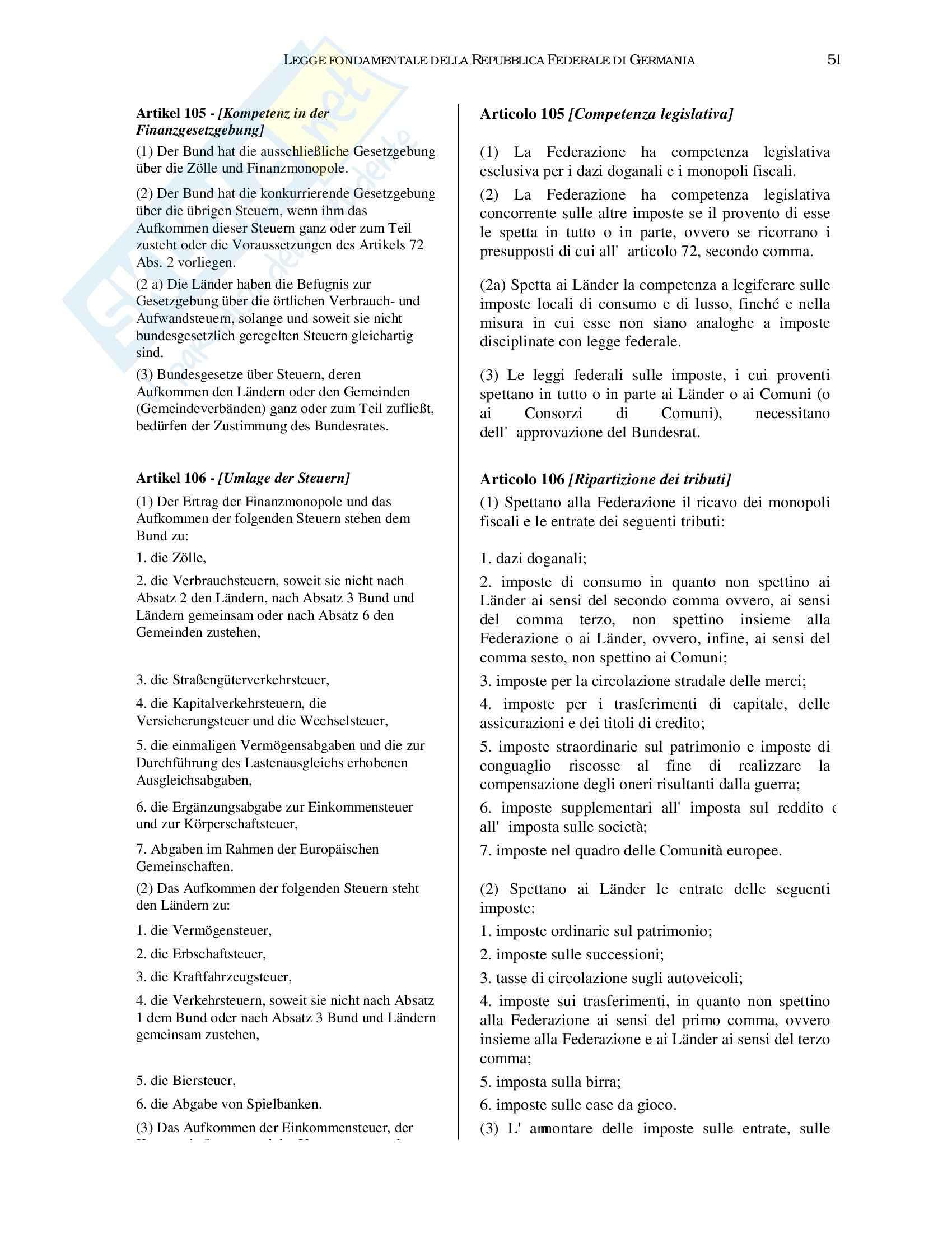 Repubblica Federale di Germania - Legge Fondamentale Pag. 51