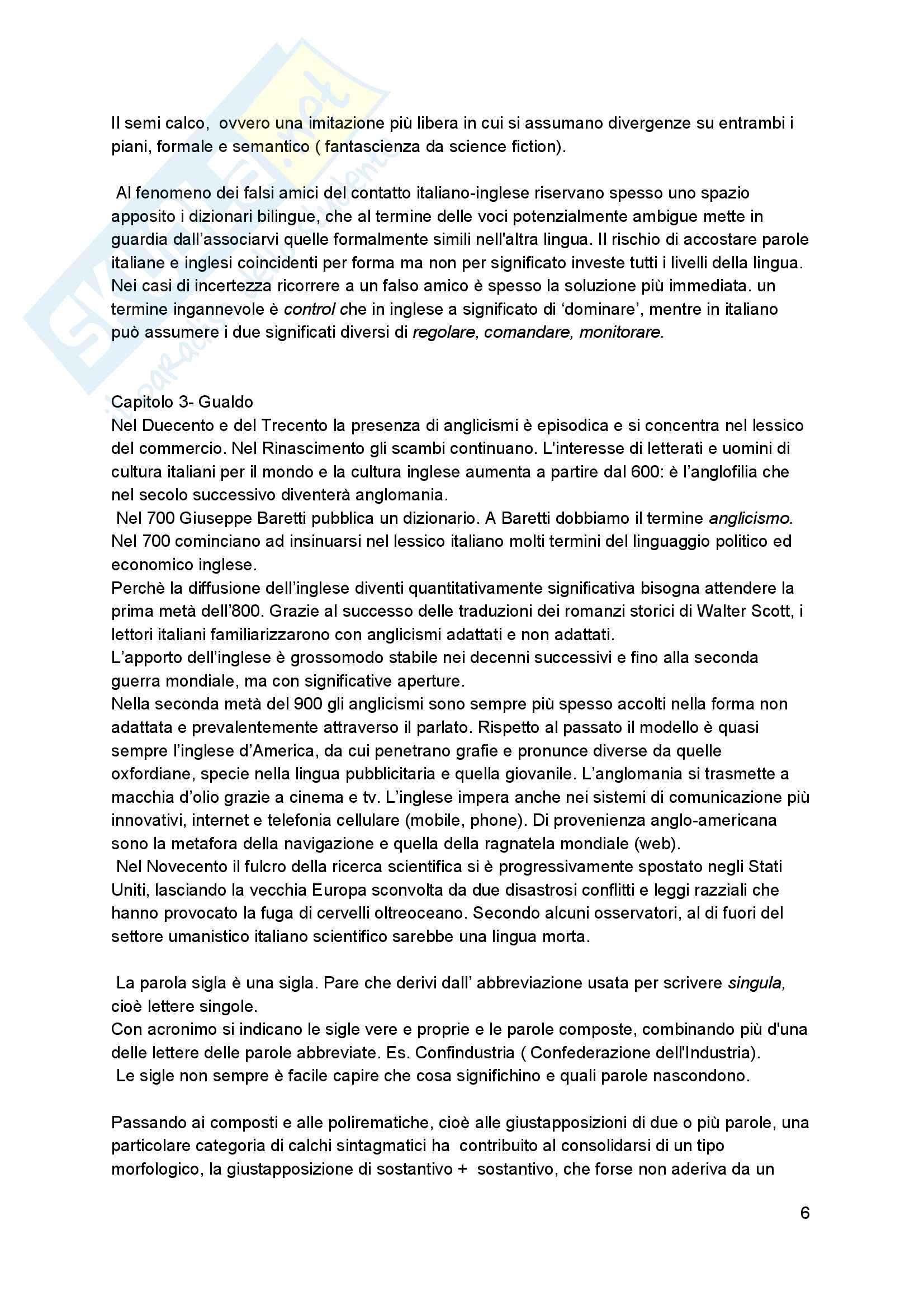 Riassunto esame linguistica italiana, Prof. Claudio Giovanardi, Riccardo Gualdo e Alessandra Coco, libro consigliato Inglese-Italiano 1 a 1, Autori Giovanardi, Gualdo, Coco Pag. 6