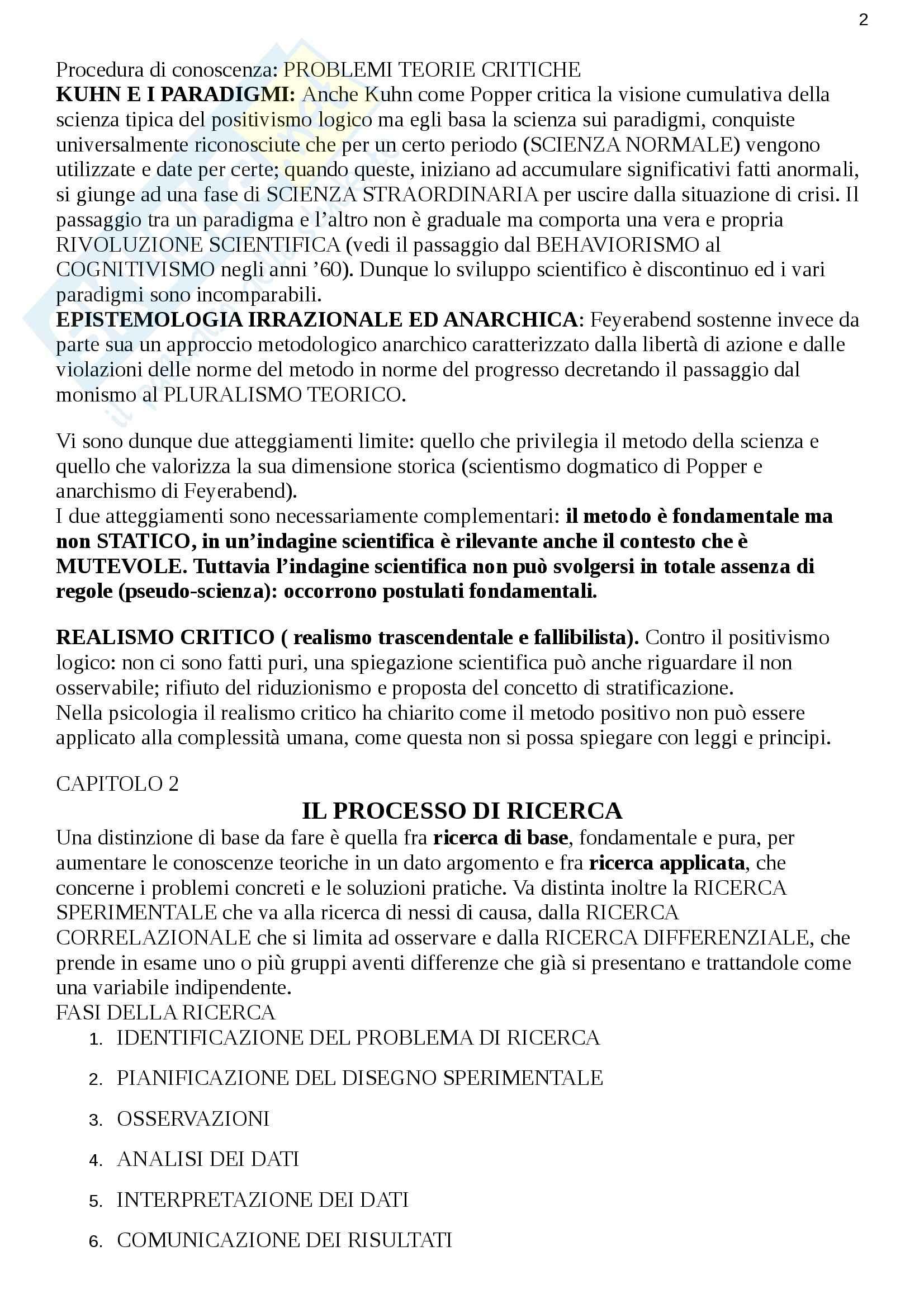 Riassunto esame Metodologia, prof. Cuzzocrea, libro consigliato Metodologia della ricerca psicologica, Pedon e Gnisci Pag. 2