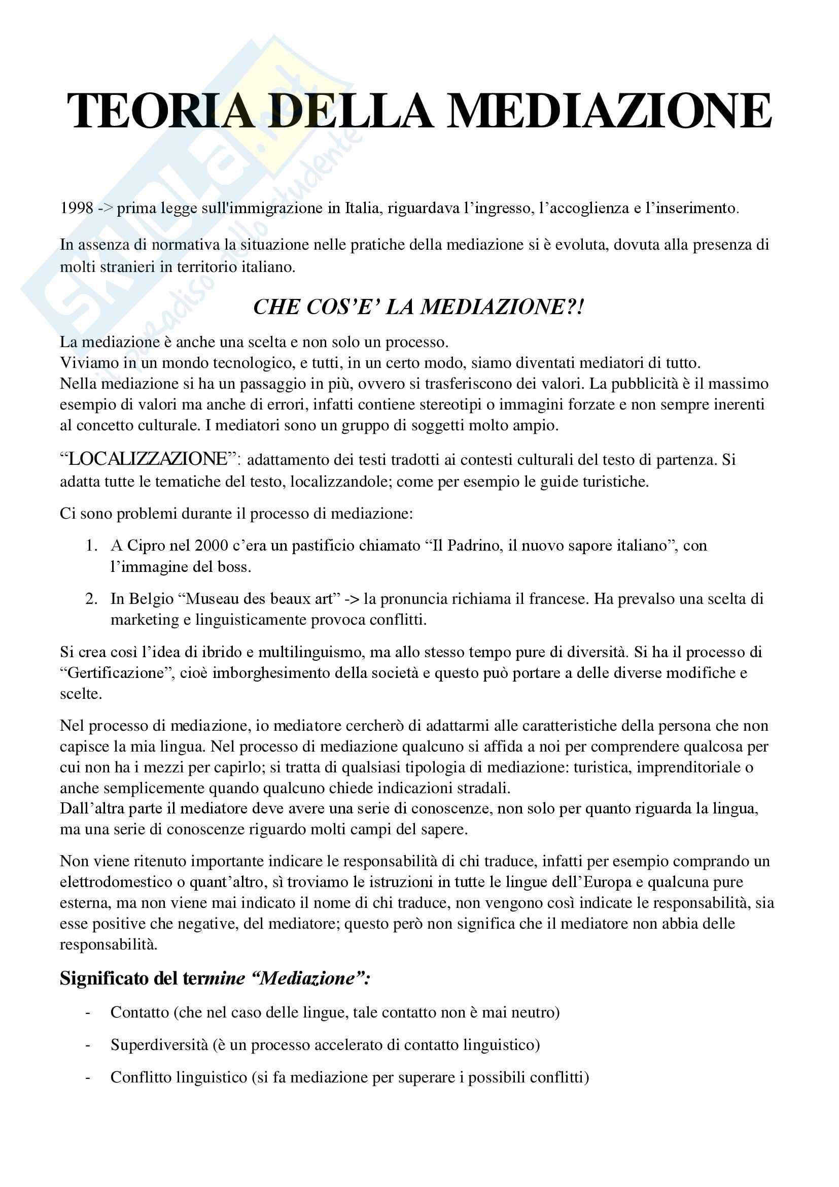 Appunti completi esame Teoria della mediazione, prof. Machetti, prof. Bagna