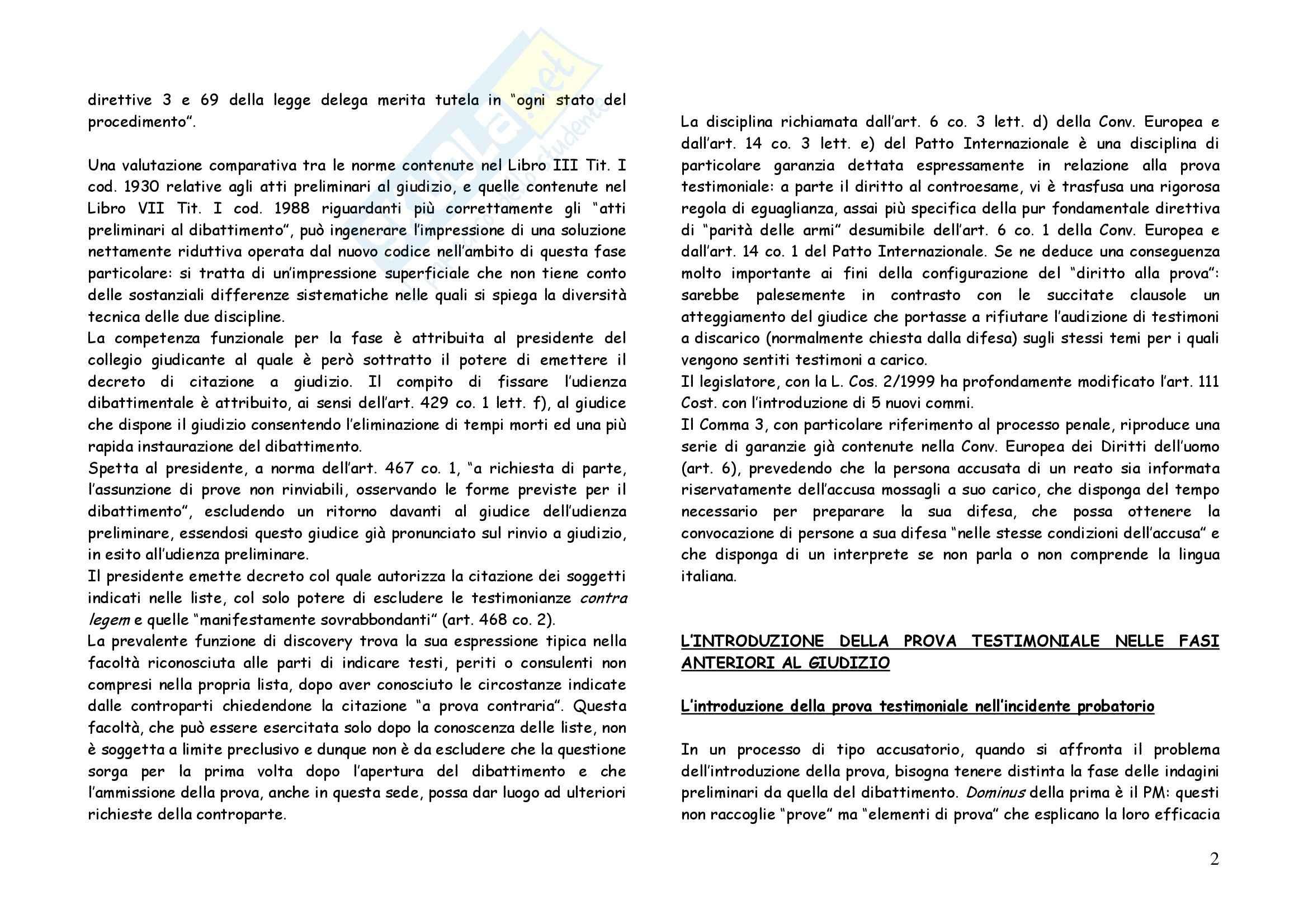Riassunto esame Diritto Processuale Penale, prof. Garofoli, libro consigliato L'Introduzione della Prova Testimoniale nel Processo Penale Pag. 2