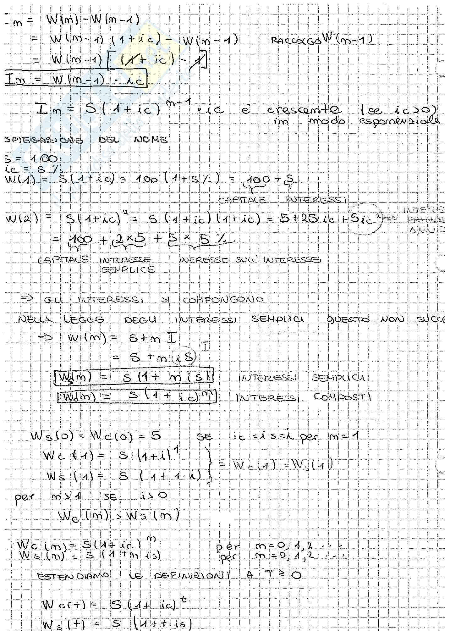 Appunti di Matematica Finanziaria, docente Claudio Pacati Pag. 6