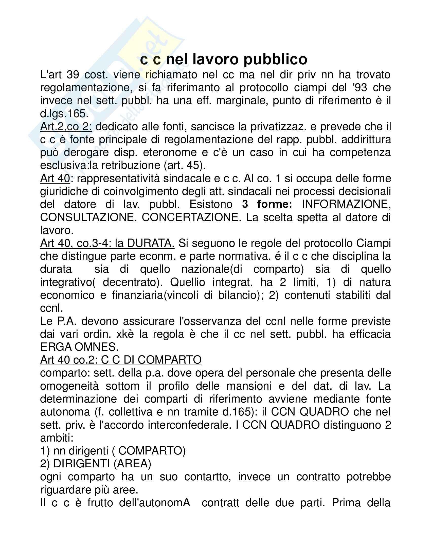 Diritto del lavoro - le Pubbliche Amministrazioni - Appunti