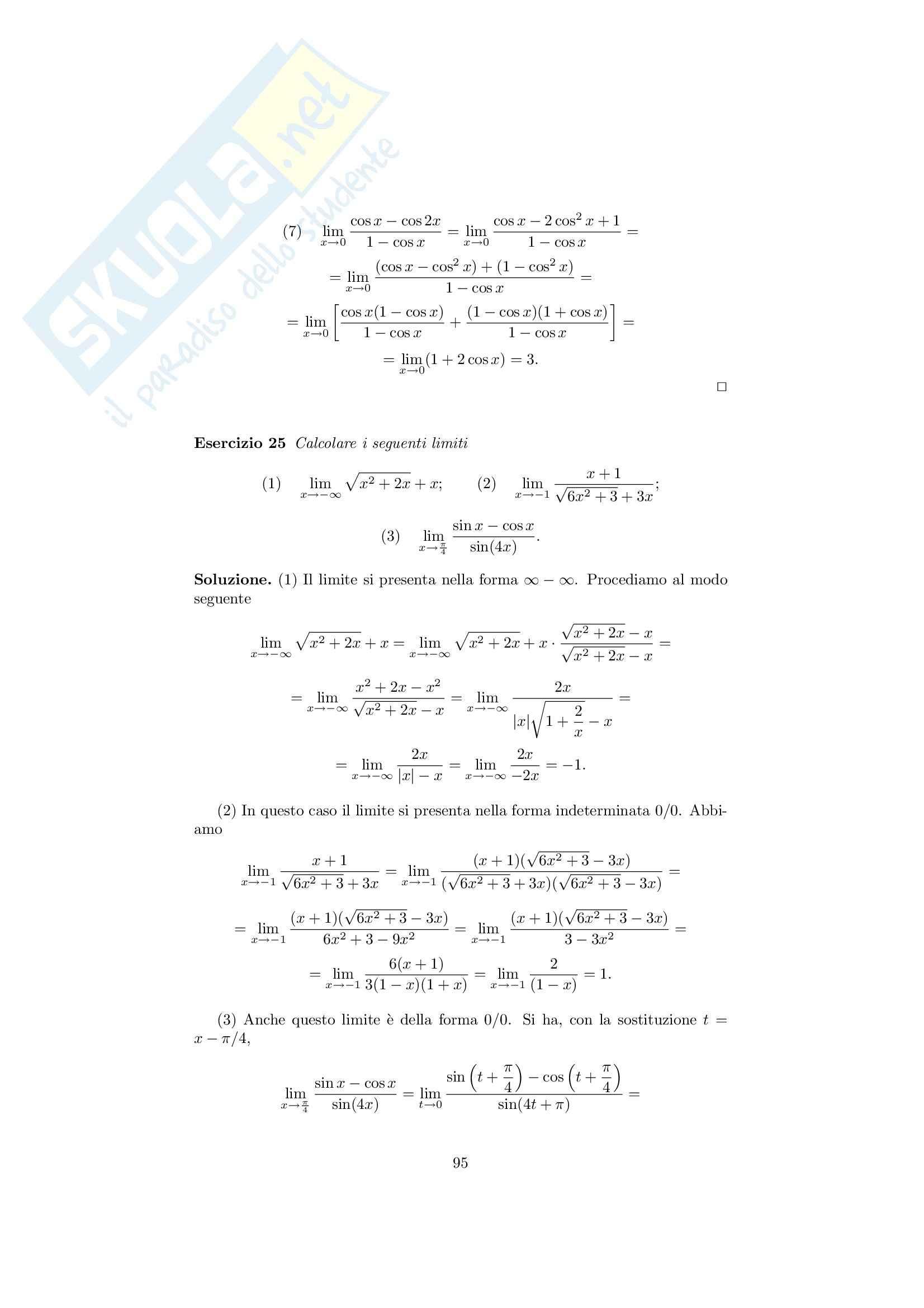 Analisi matematica 1 - Note ed esercizi svolti sui Limiti di Funzioni Pag. 11
