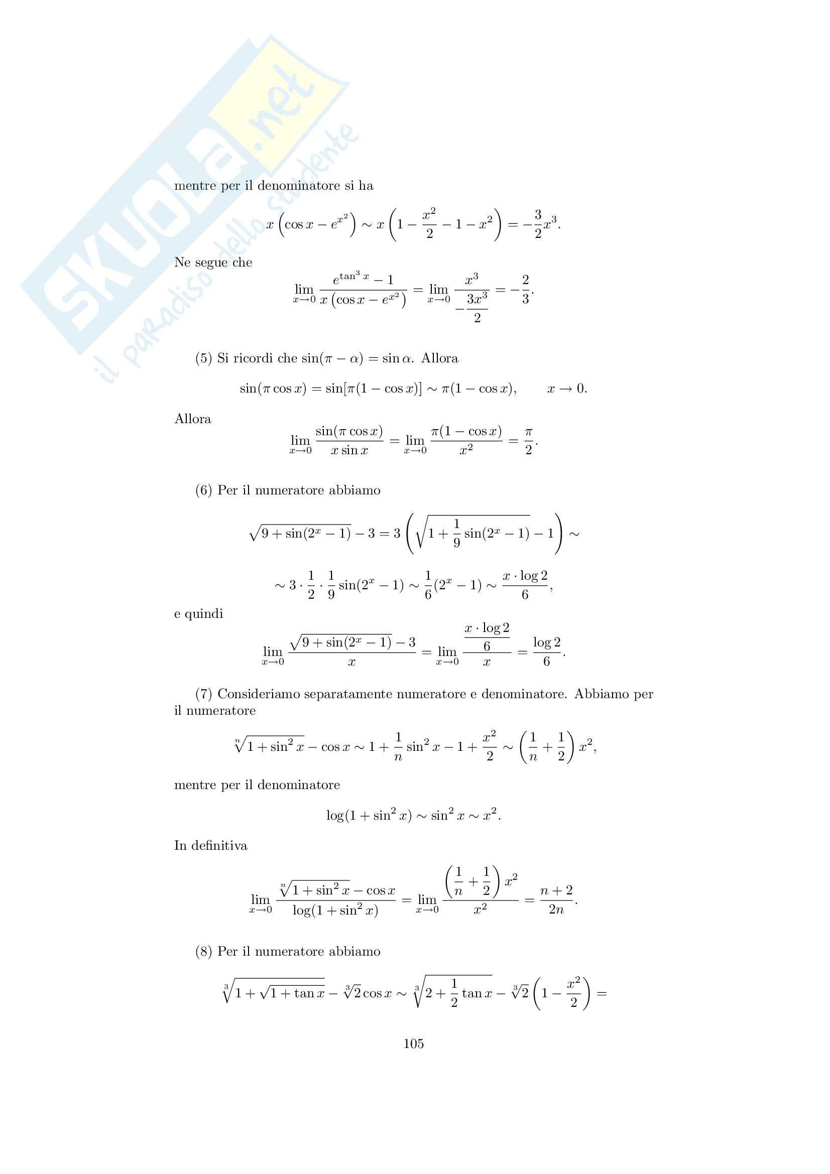 Analisi matematica 1 - Note ed esercizi svolti sui Limiti di Funzioni Pag. 21