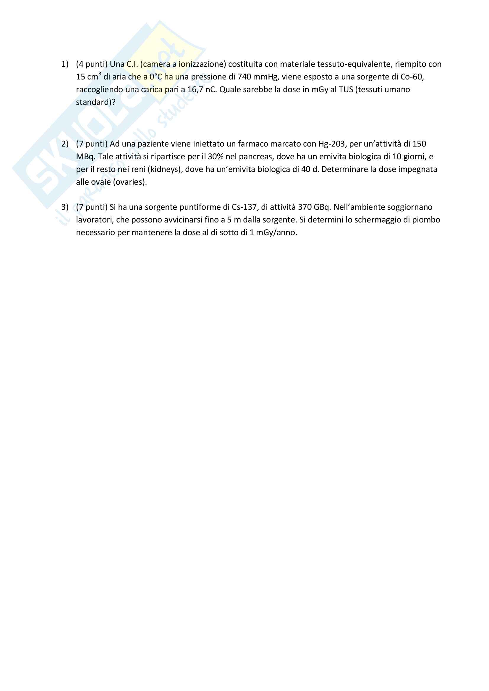 Appunti e Simulazioni d'esame di Radioprotezione T Pag. 26