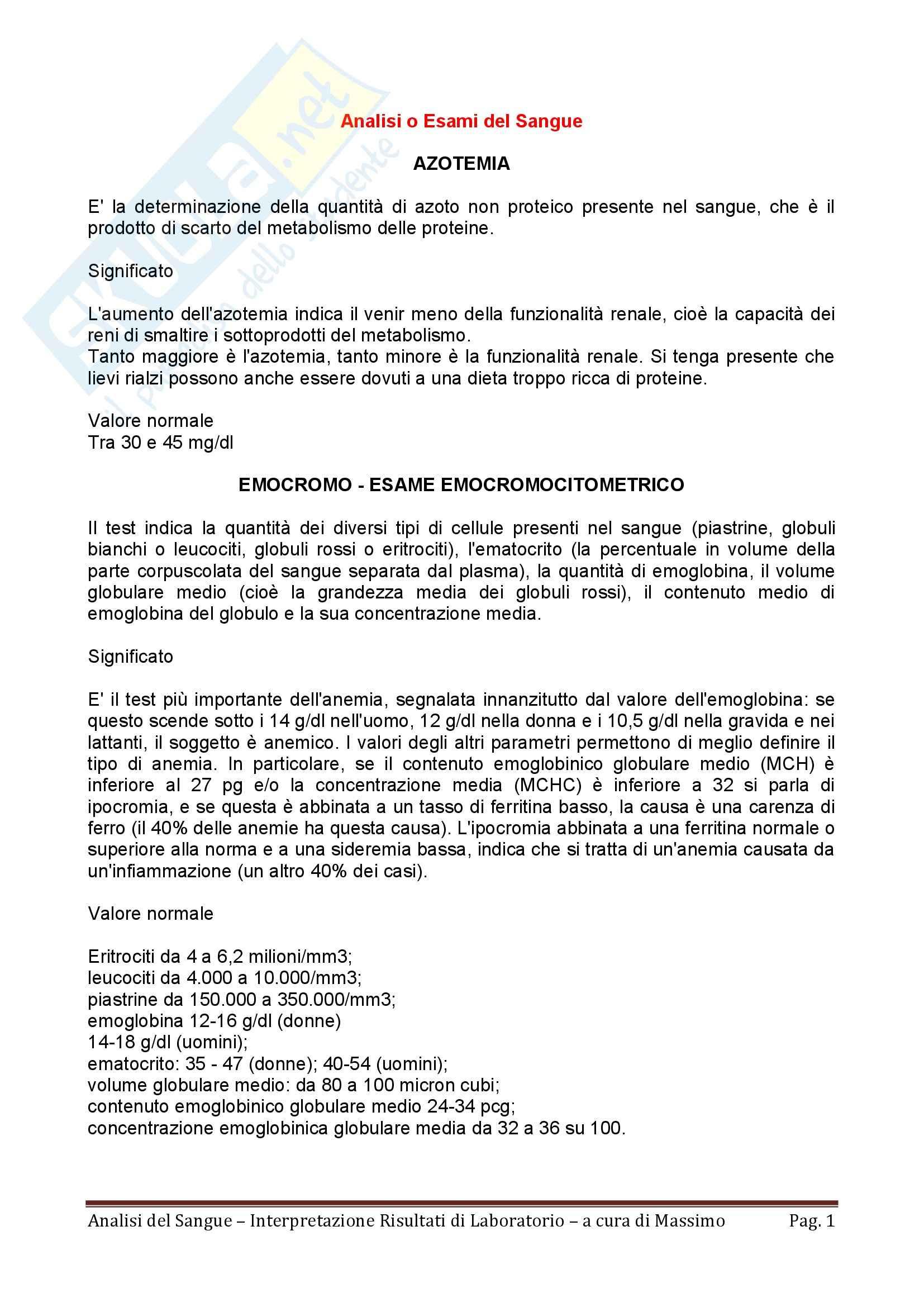 Ematologia - analisi del sangue e interpretazione dei risultati di laboratorio