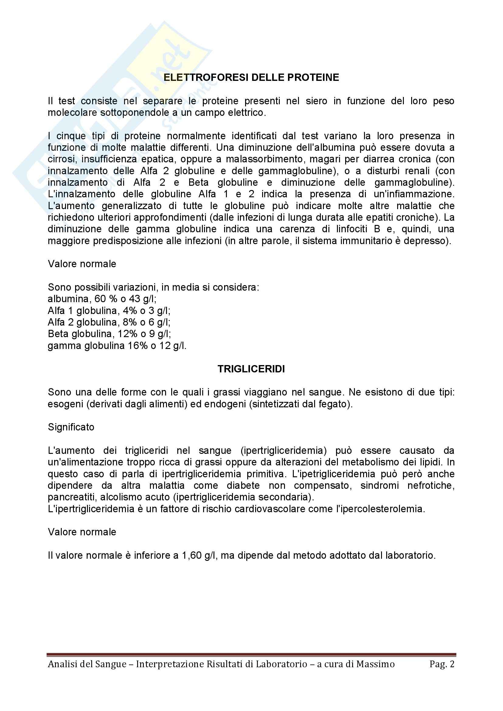 Ematologia - analisi del sangue e interpretazione dei risultati di laboratorio Pag. 2