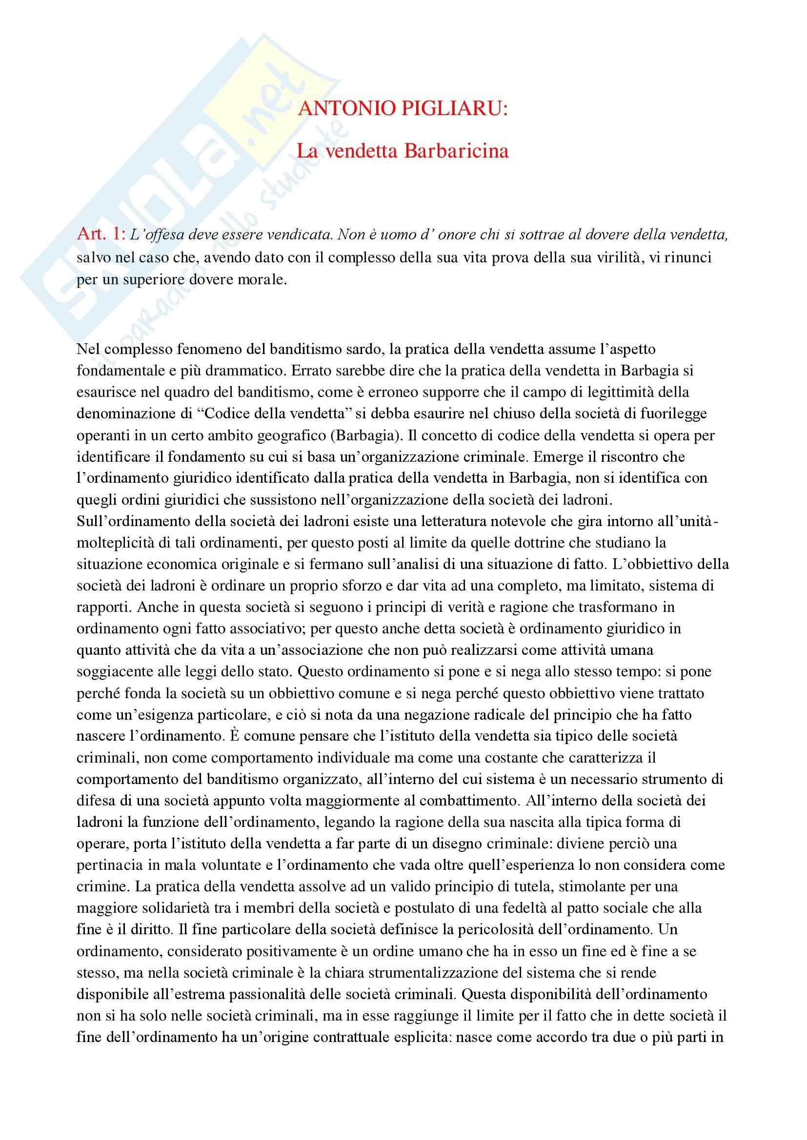 La vendetta barbaricina, Pigliaru - Appunti