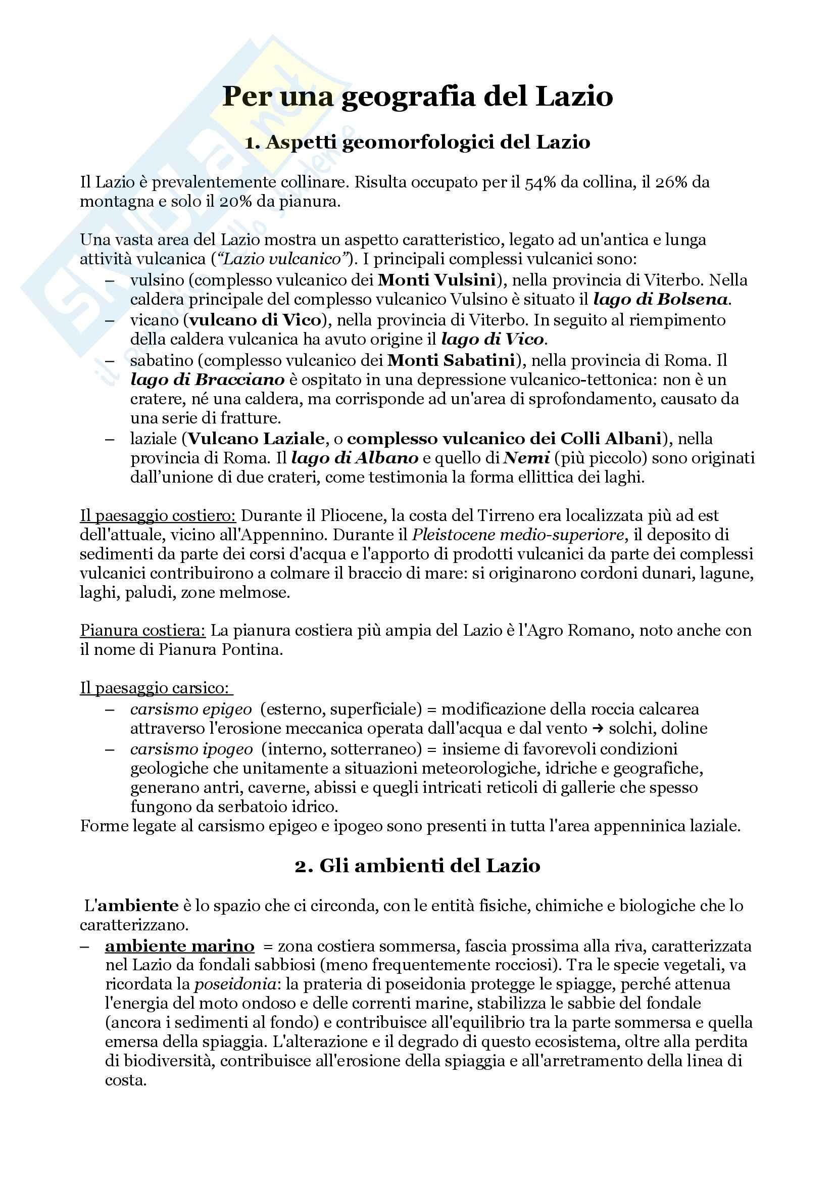 Per una geografia del Lazio, De Vecchis - Appunti