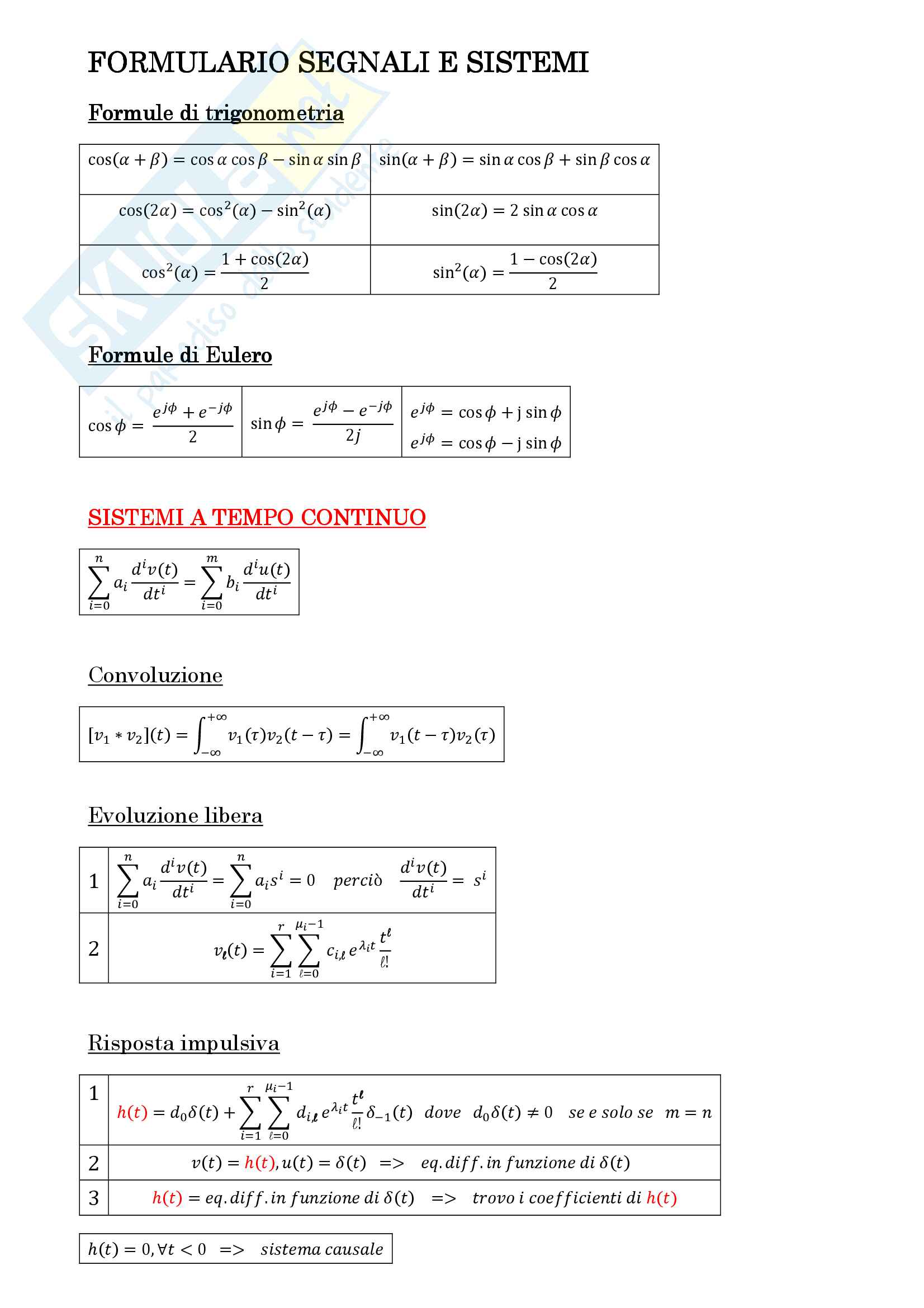 Riassunto di formule Segnali e sistemi - Pillonetto - Carli